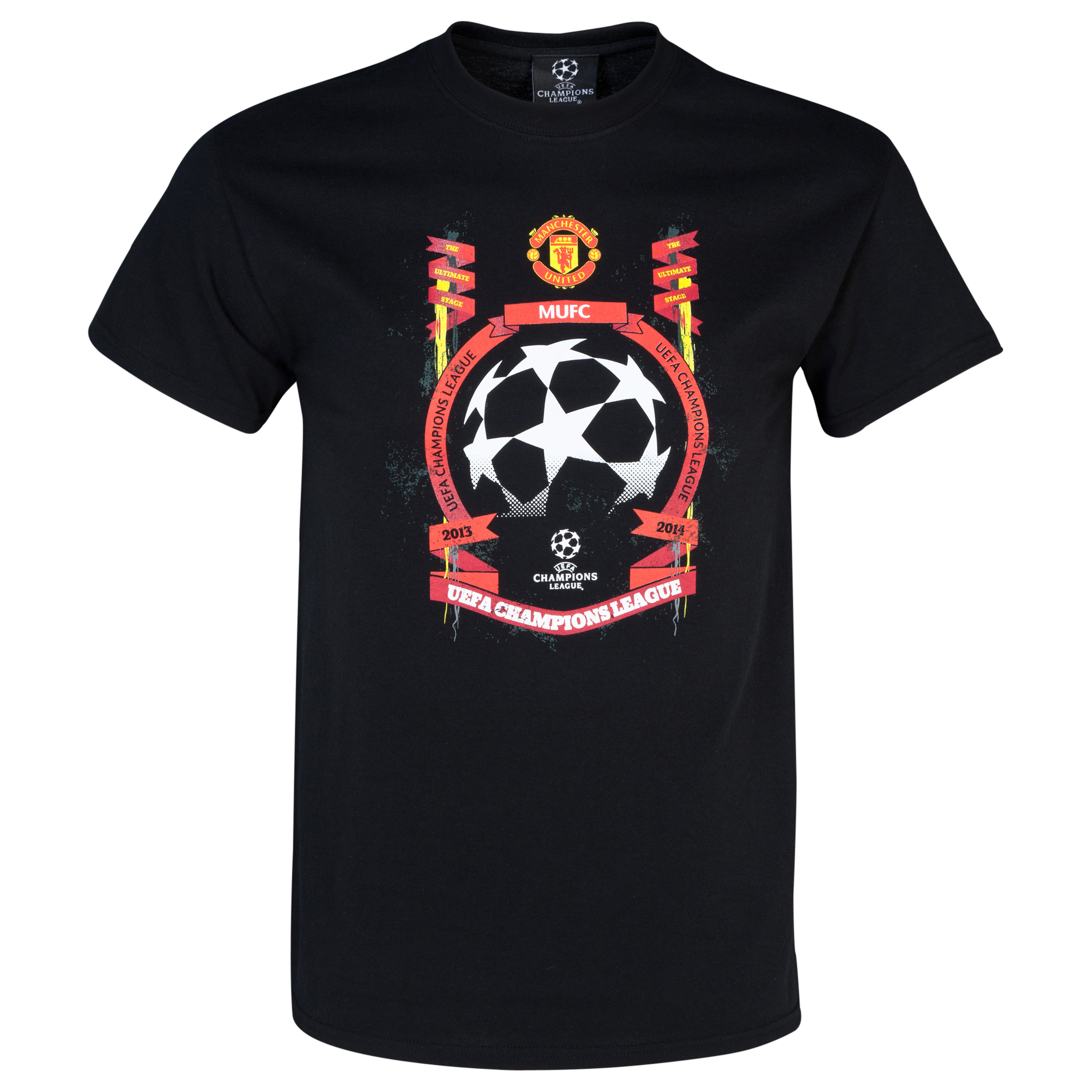 Manchester United UEFA Champions League Star Ball T-Shirt - Boys Black