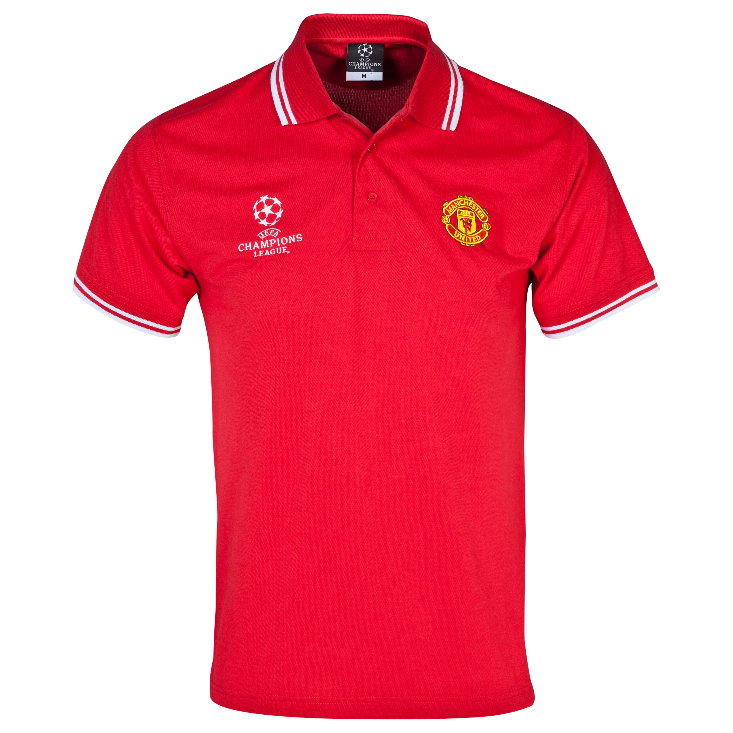 Manchester United UEFA Champions League Tipped Polo - Mens Red