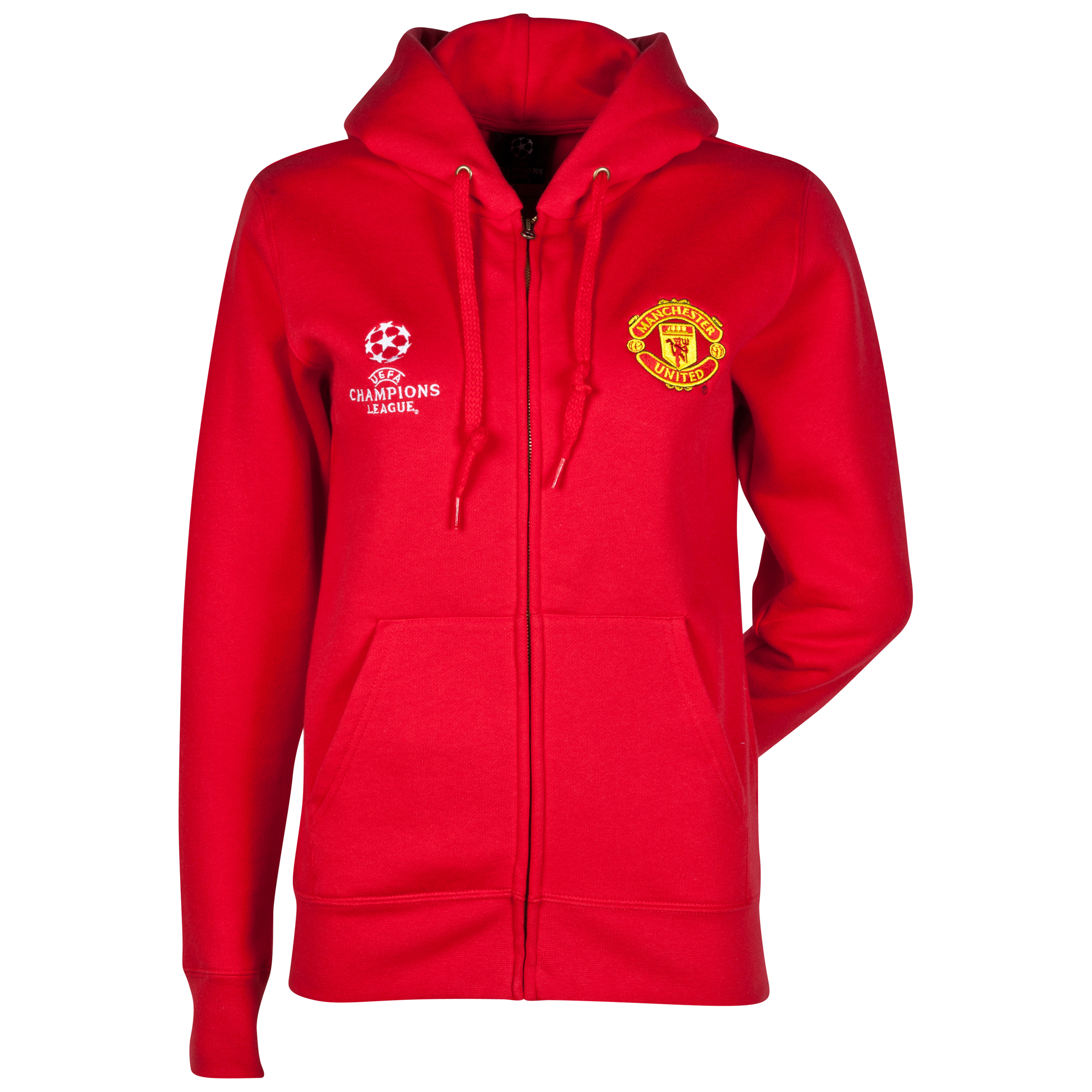 Manchester United UEFA Champions League Full Zip Hoody - Womens Red