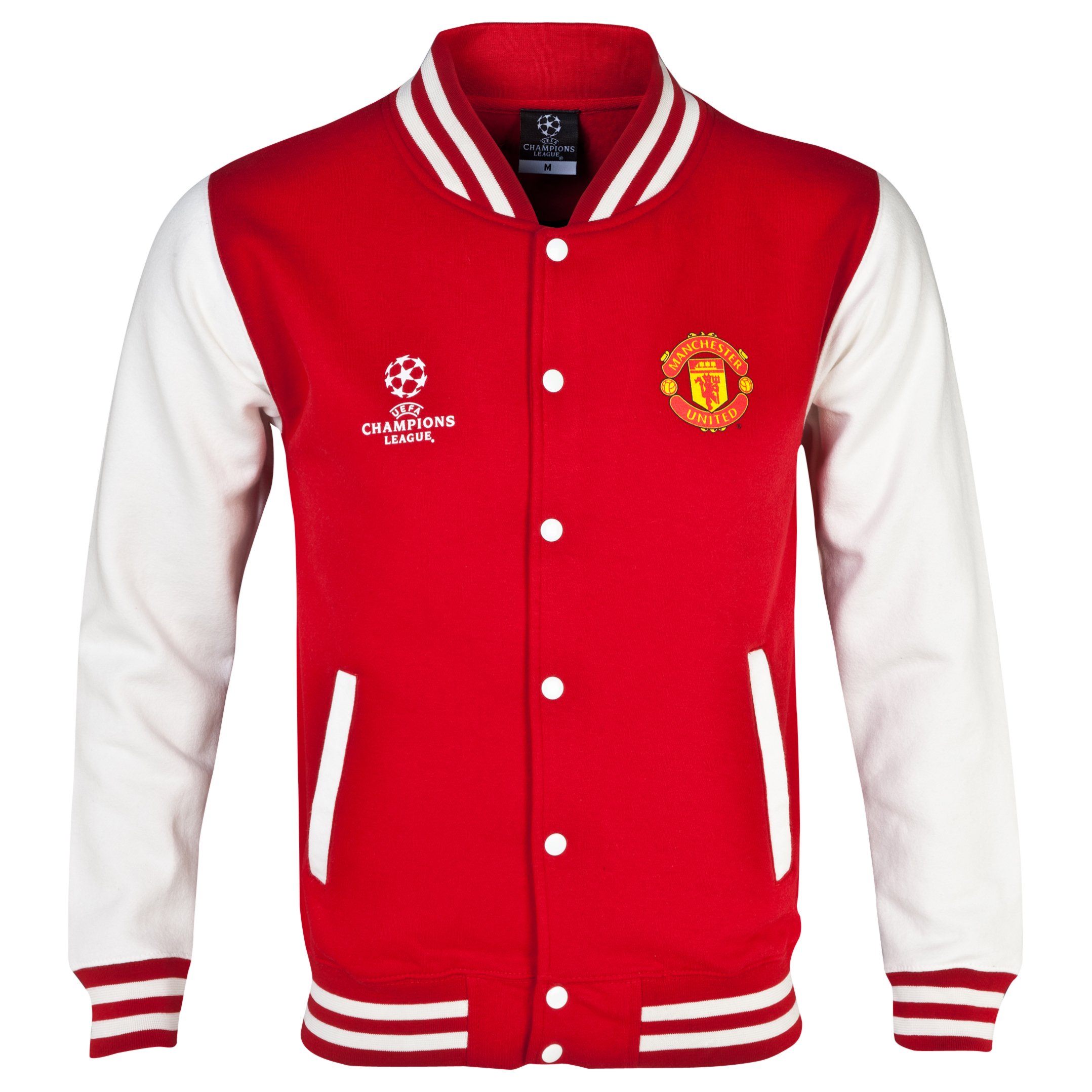 Manchester United UEFA Champions League Varsity Baseball Jacket - Mens Red