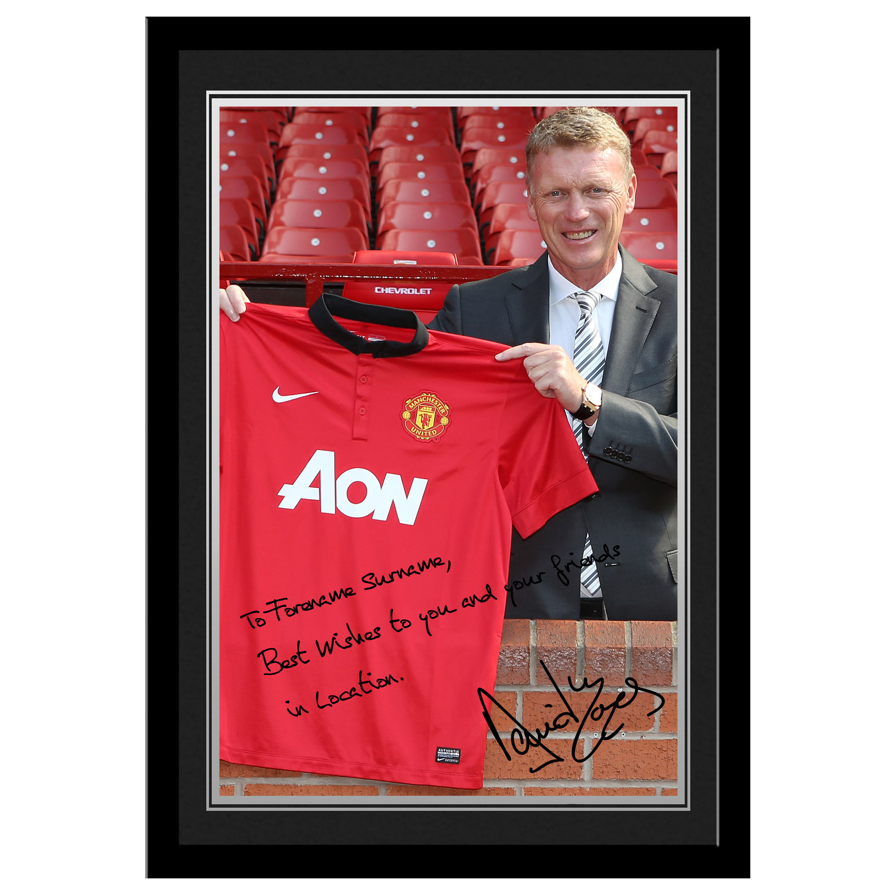 Manchester United Manchester United Personalised Signature Photo Framed - Moyes
