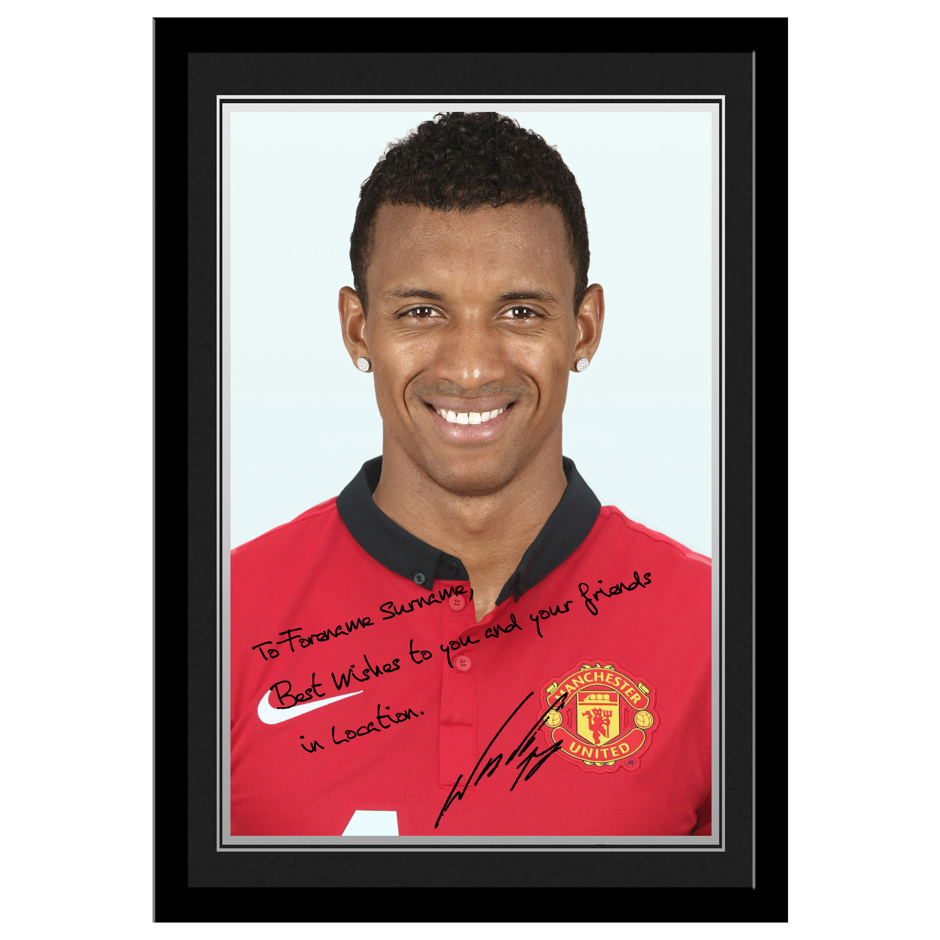 Manchester United Personalised Signature Photo Framed - Nani