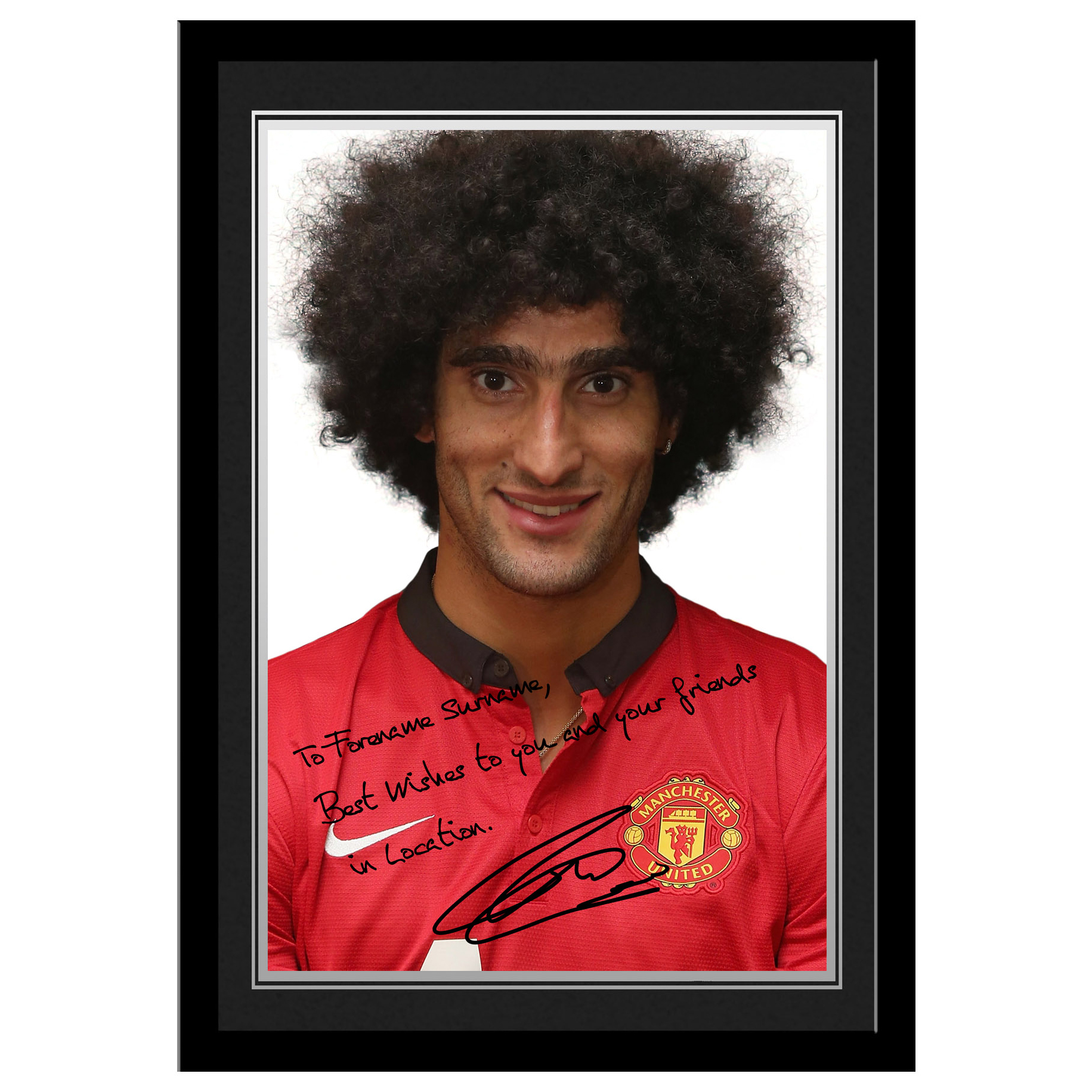 Manchester United Personalised Signature Photo Framed - Fellaini