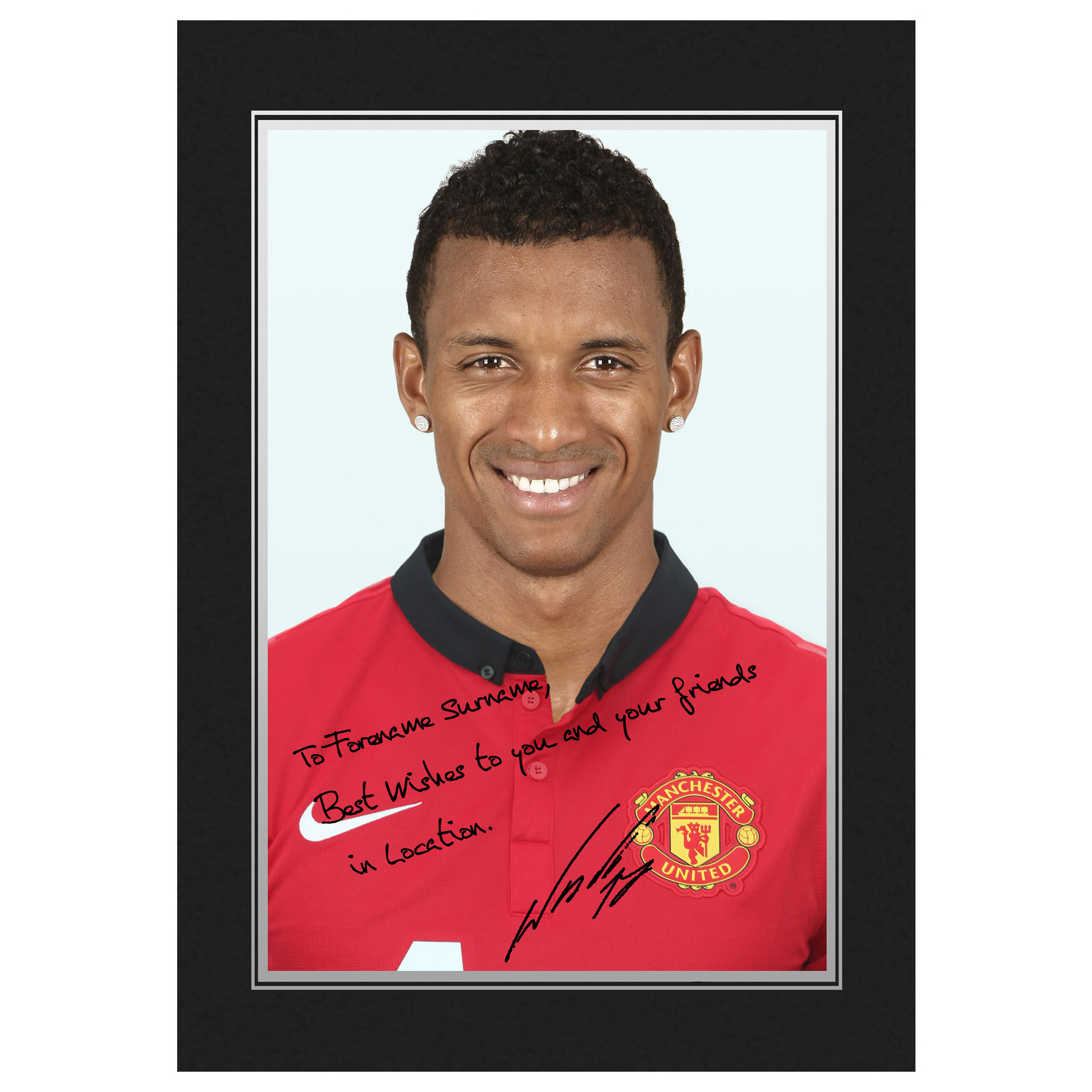 Manchester United Personalised Signature Photo in Presentation Folder - Nani