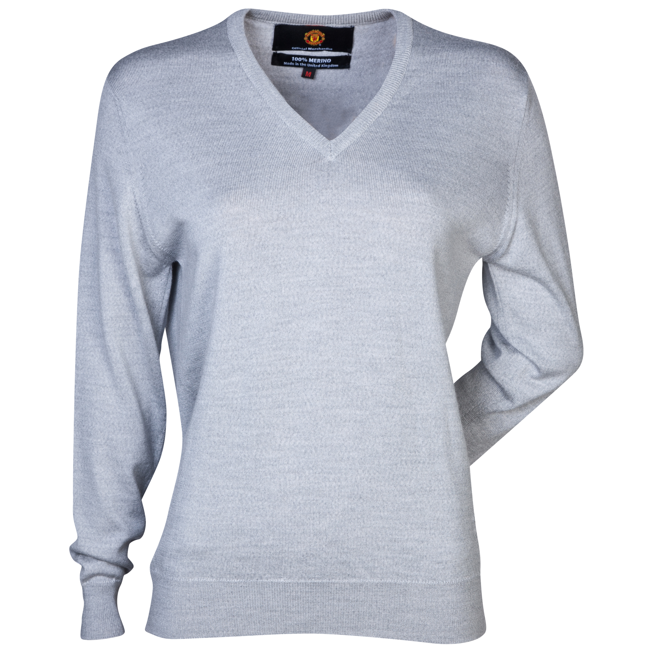 Manchester United Merino V Neck Sweater - Womens Grey