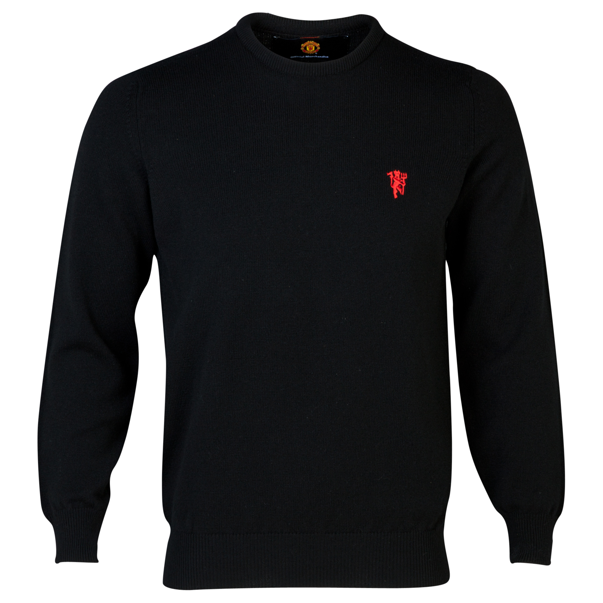 Manchester United Lambswool Crew Neck Sweater  - Mens Black