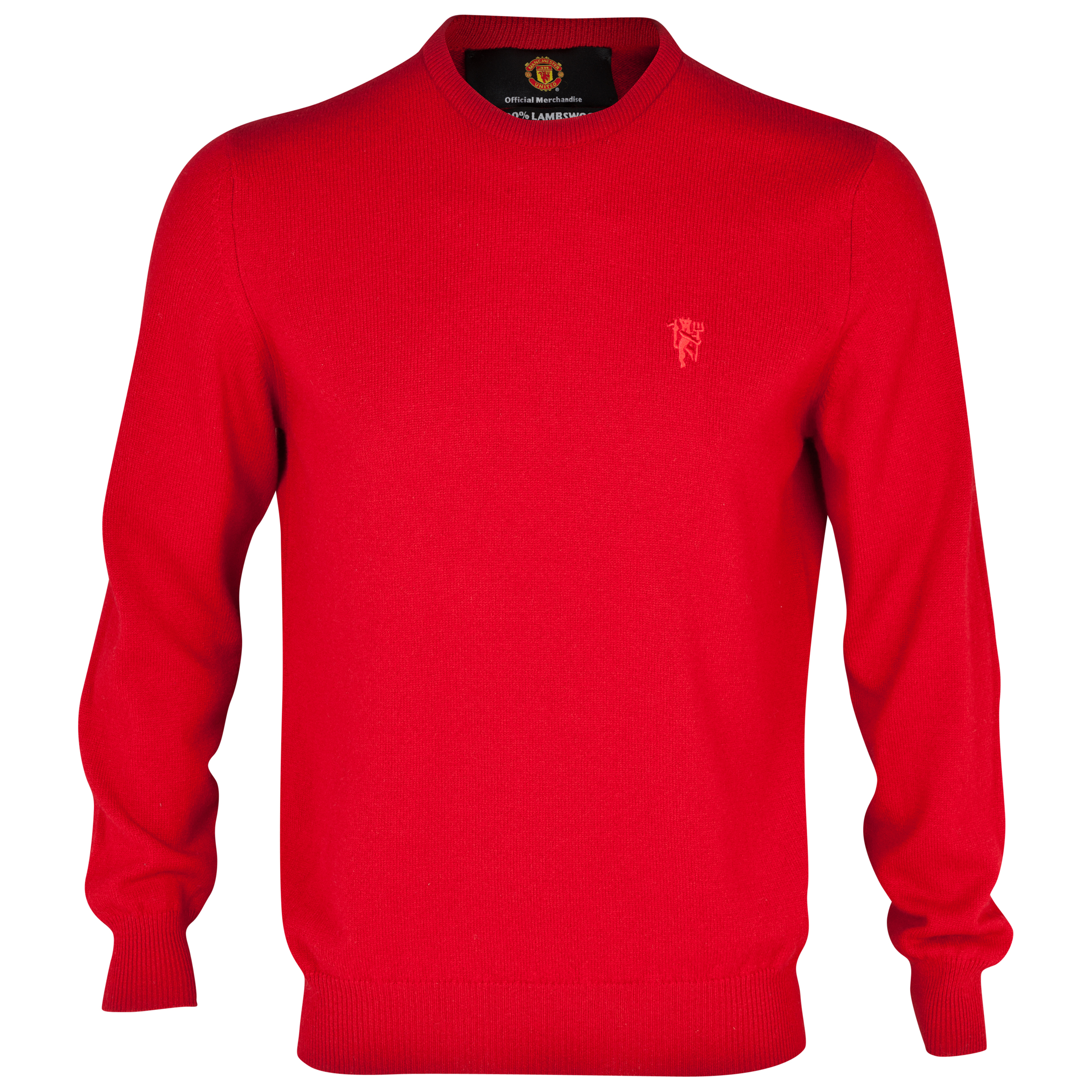 Manchester United Lambswool Crew Neck Sweater - Mens Red