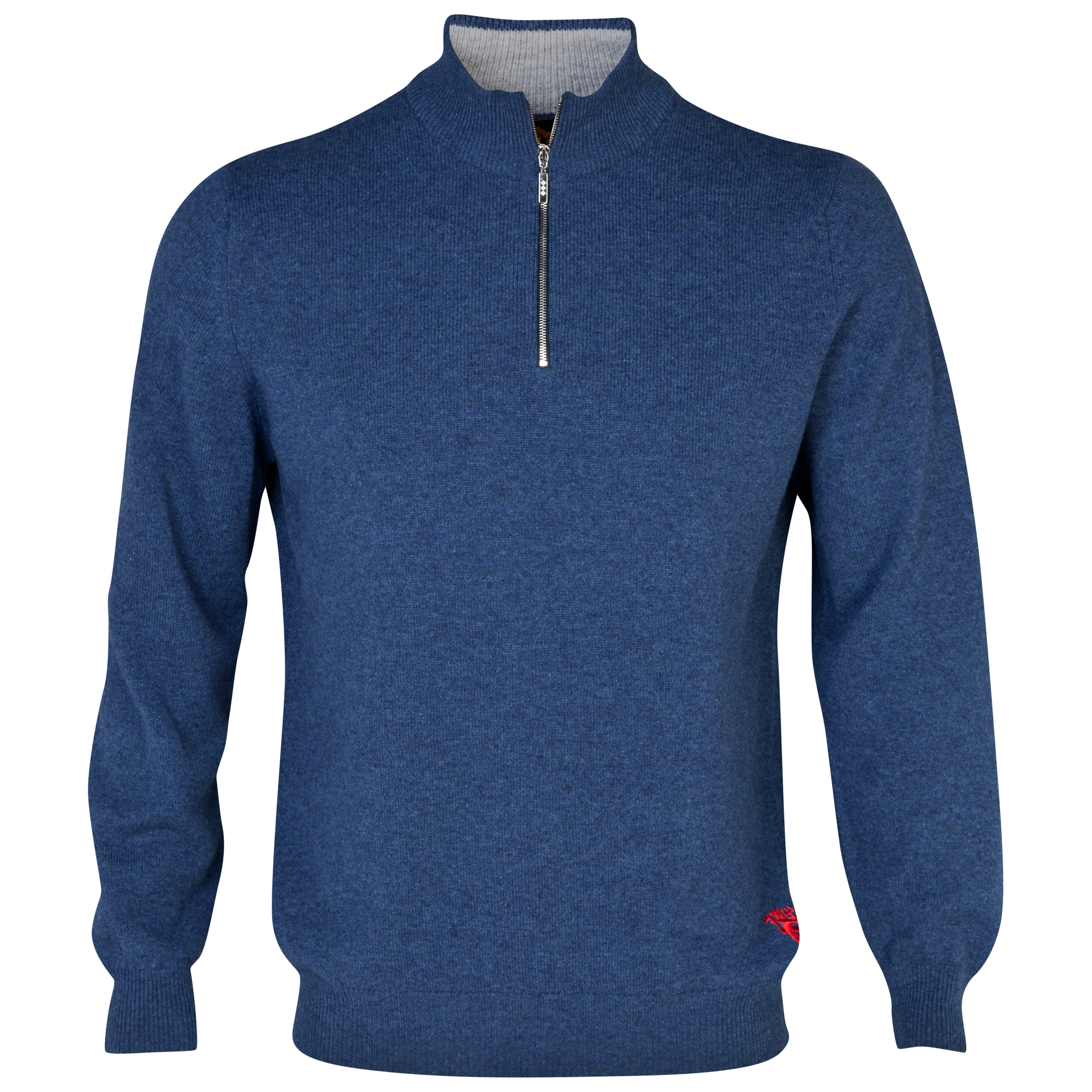 Manchester United Lambswool Zip Thru Sweater - Mens Blue