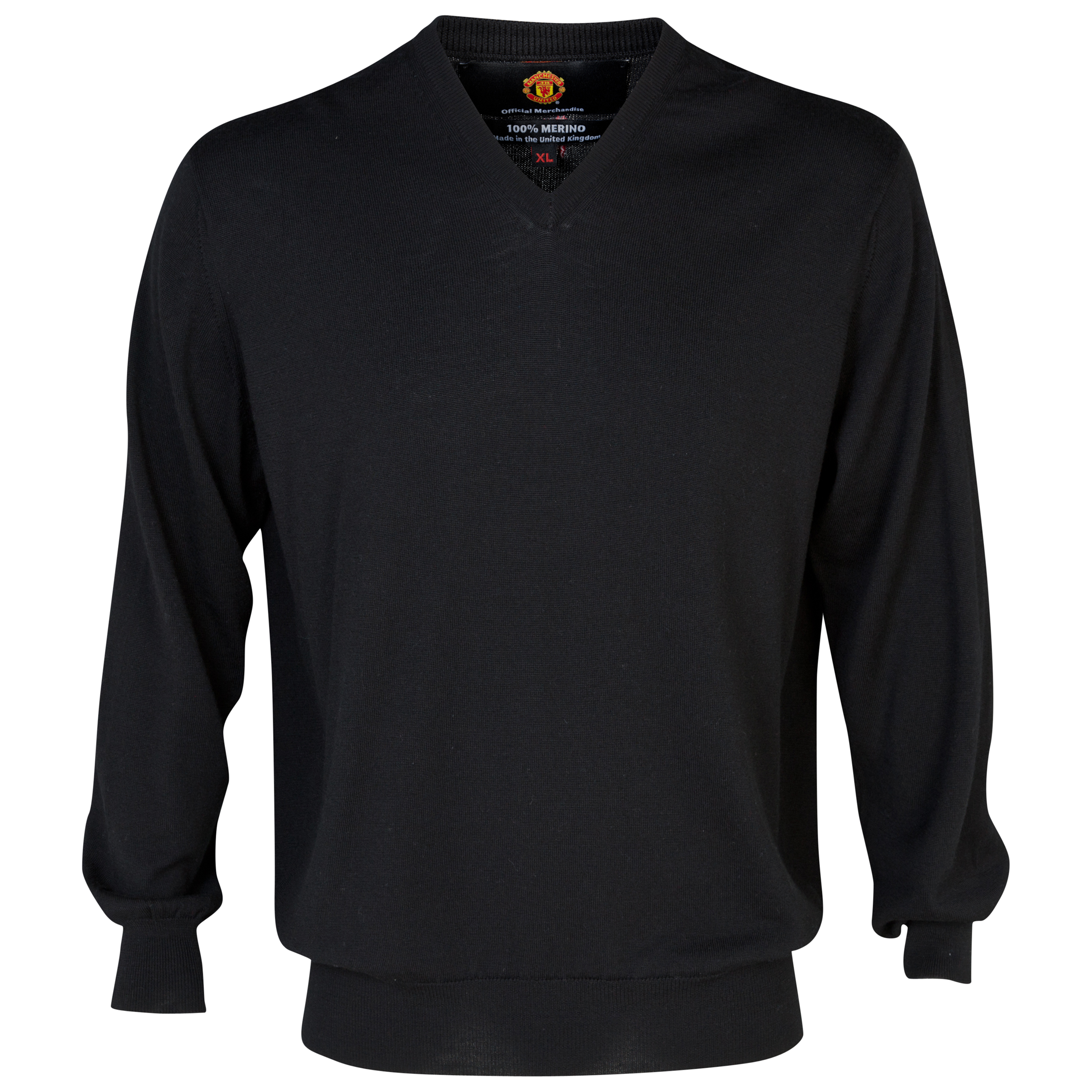 Manchester United Merino V Neck Sweater - Mens Black