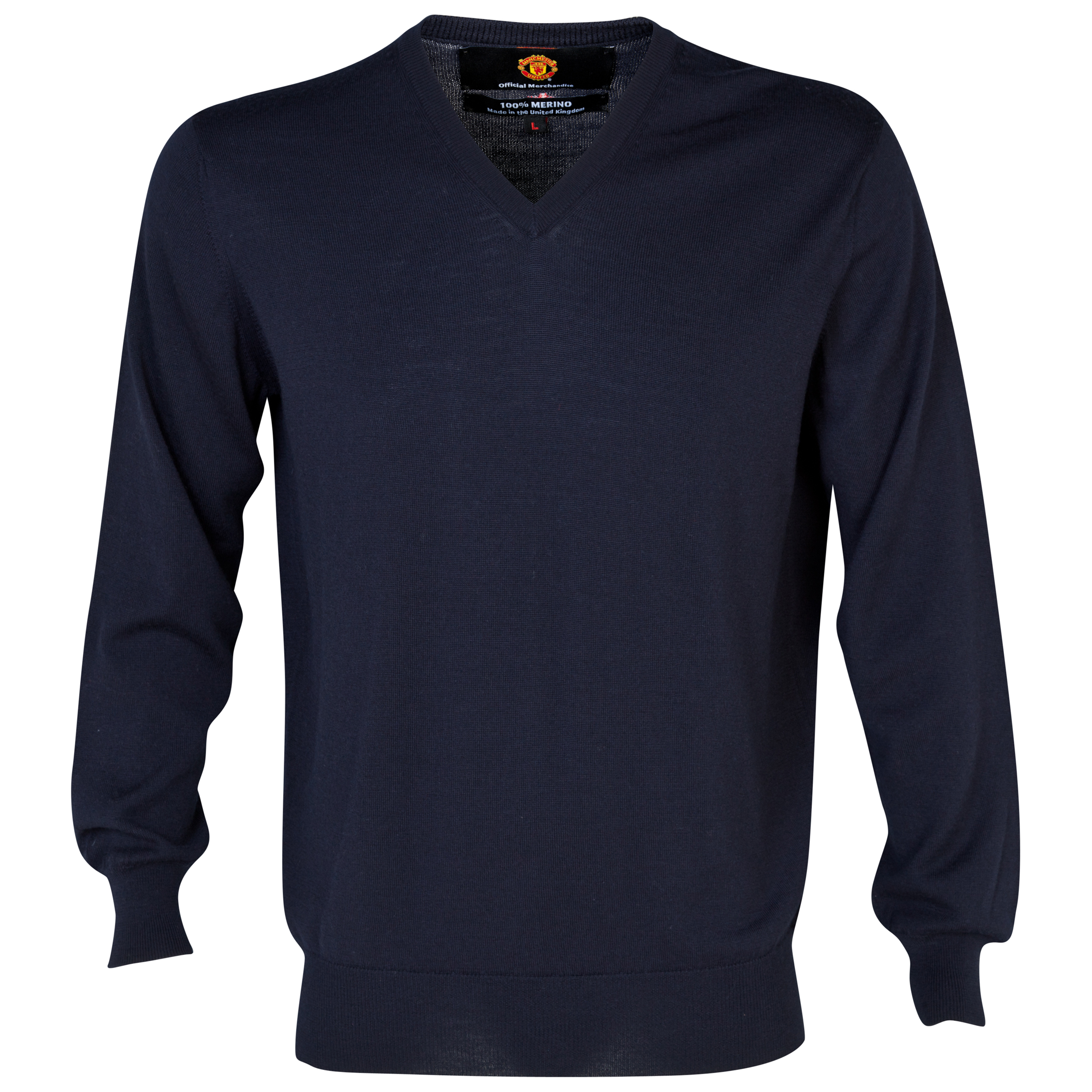 Manchester United Merino V Neck Sweater  - Mens Navy