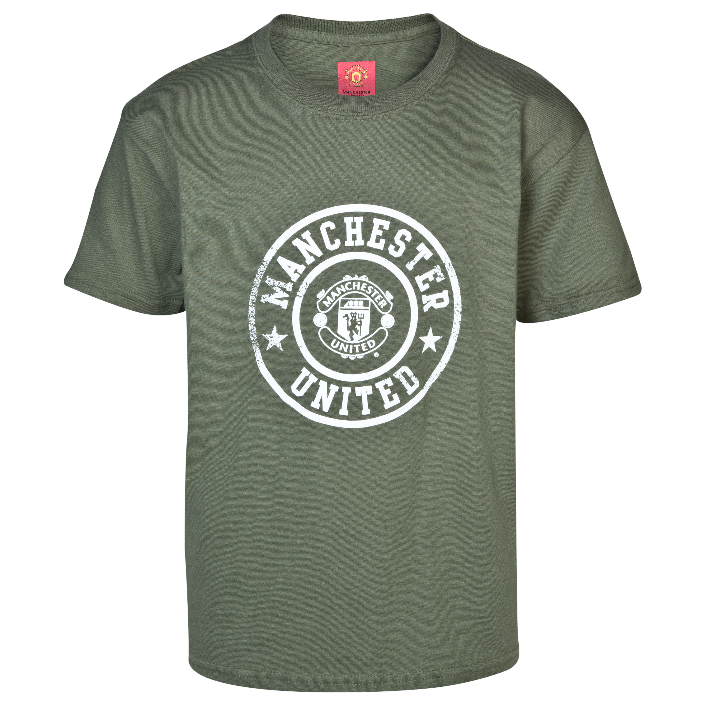 Manchester United Stamp T-Shirt -  Boys Green