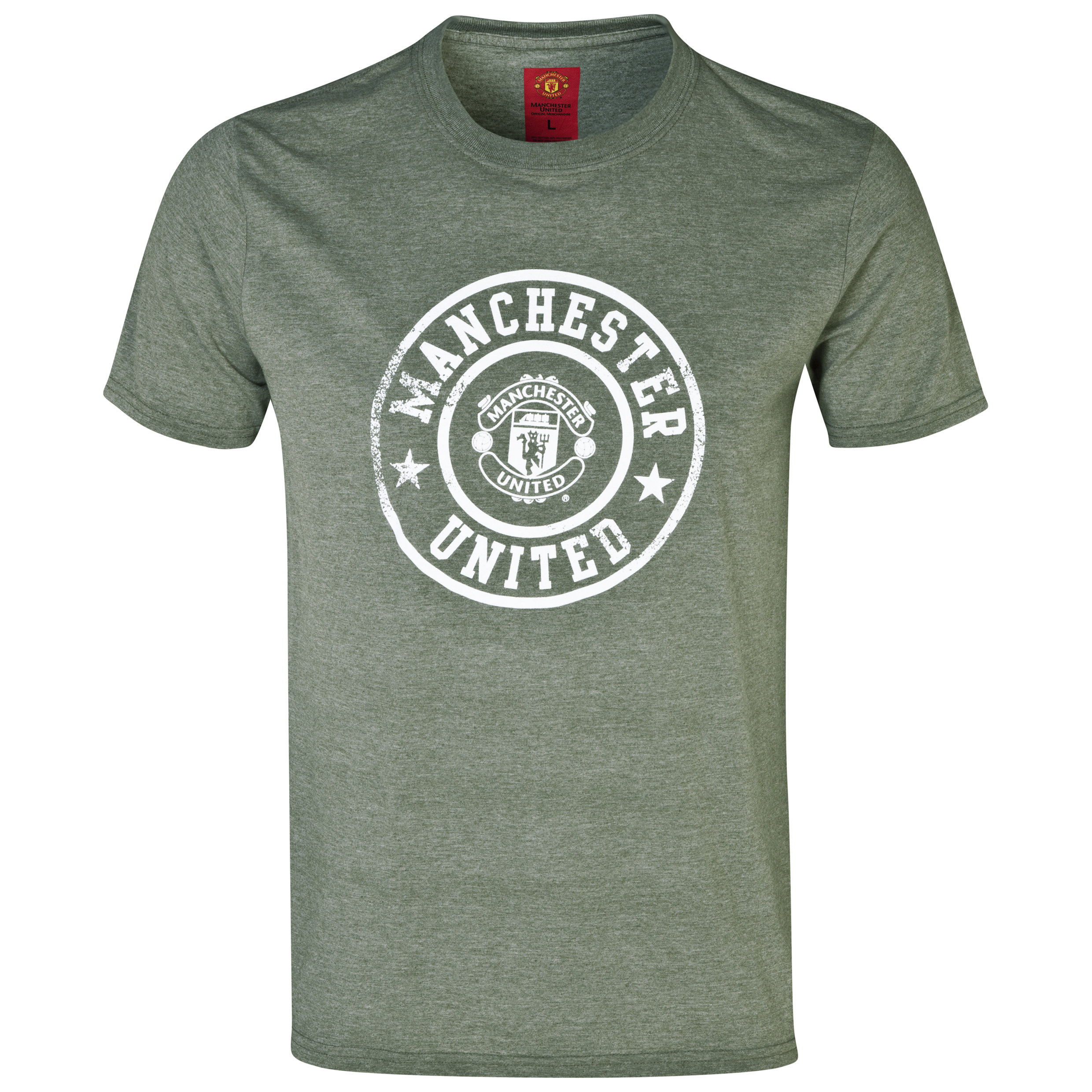 Manchester United Stamp T-Shirt -  Mens Grey