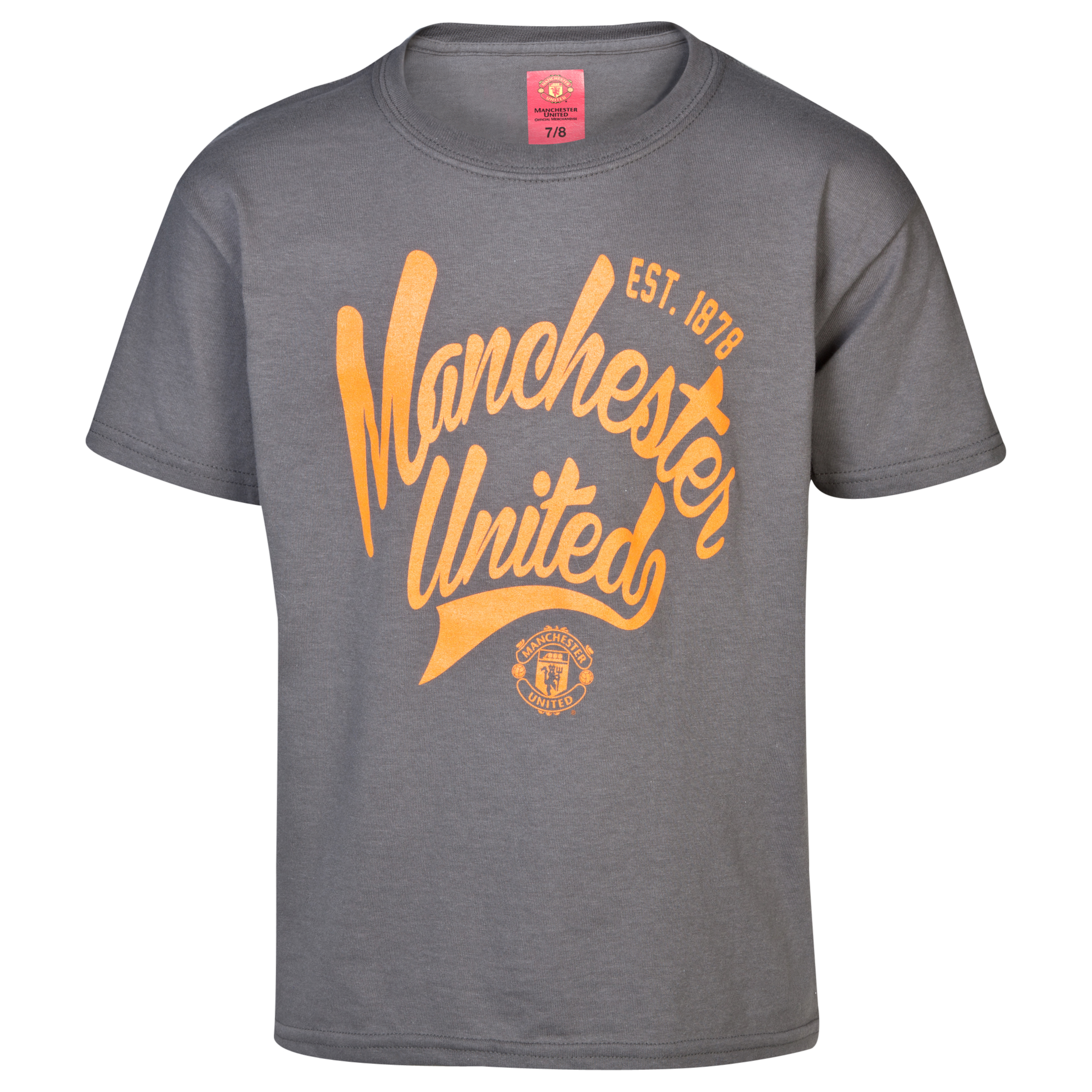 Manchester United Script T-Shirt -  Boys Grey
