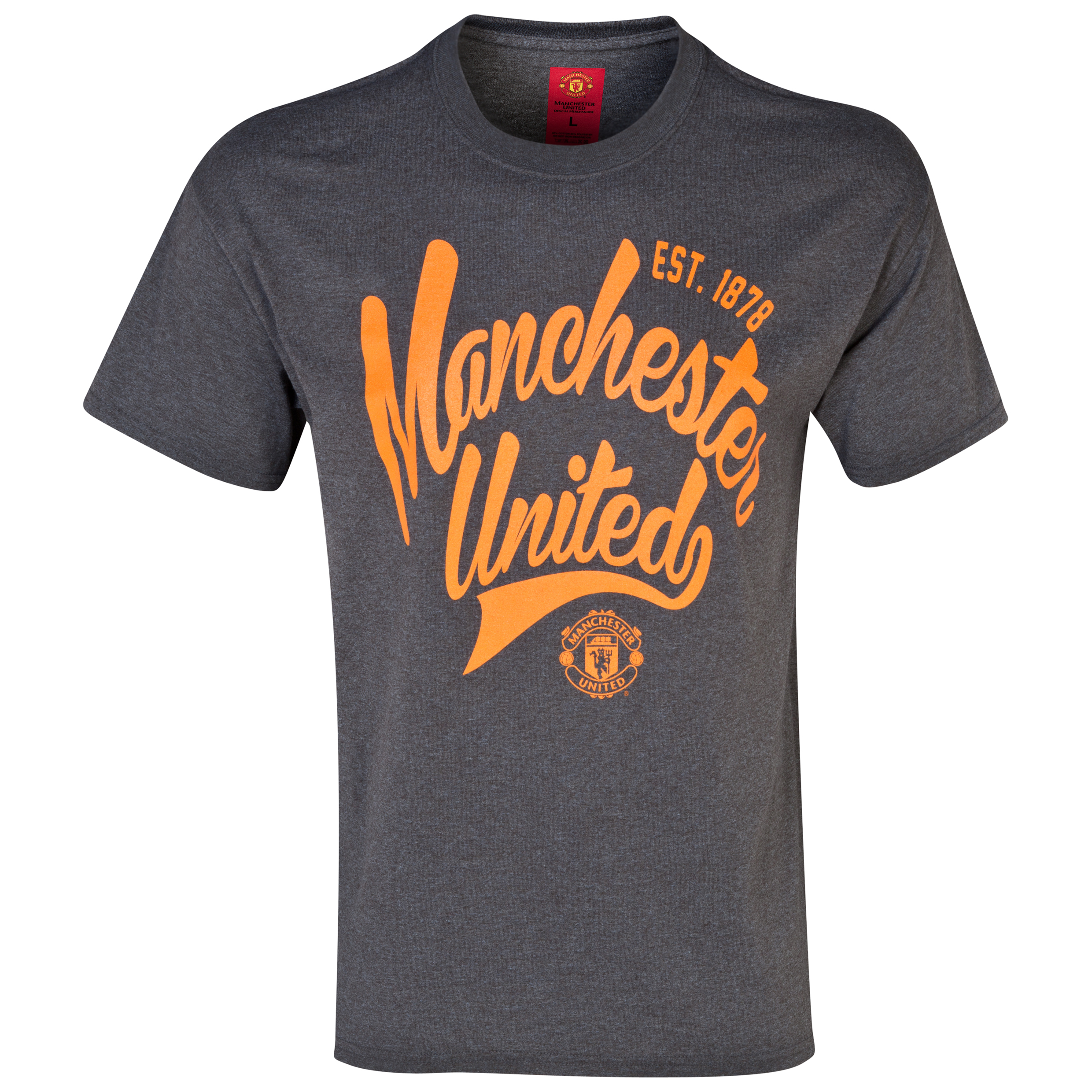 Manchester United Script T-Shirt -  Mens Grey