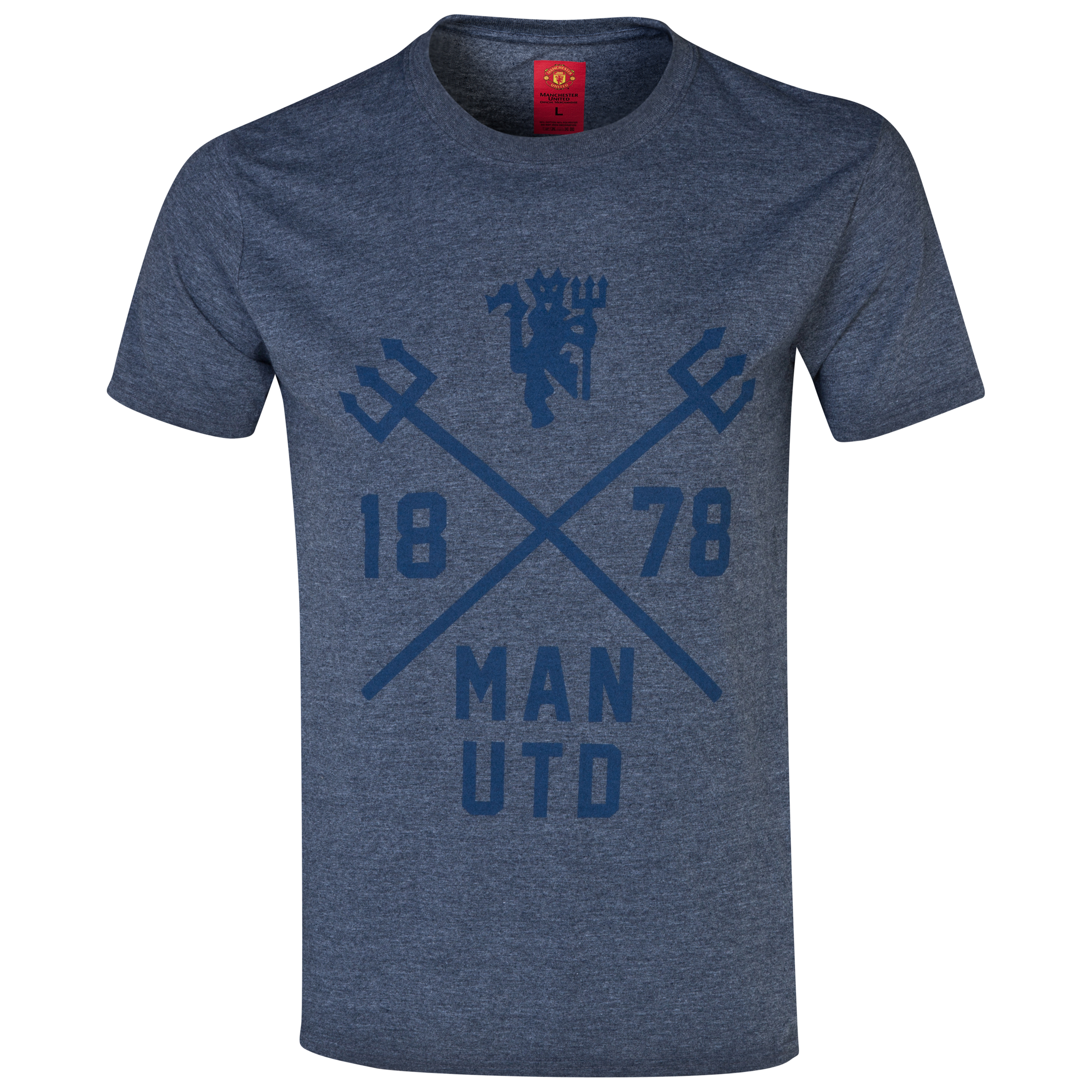 Manchester United Trident T-Shirt -  Mens Navy