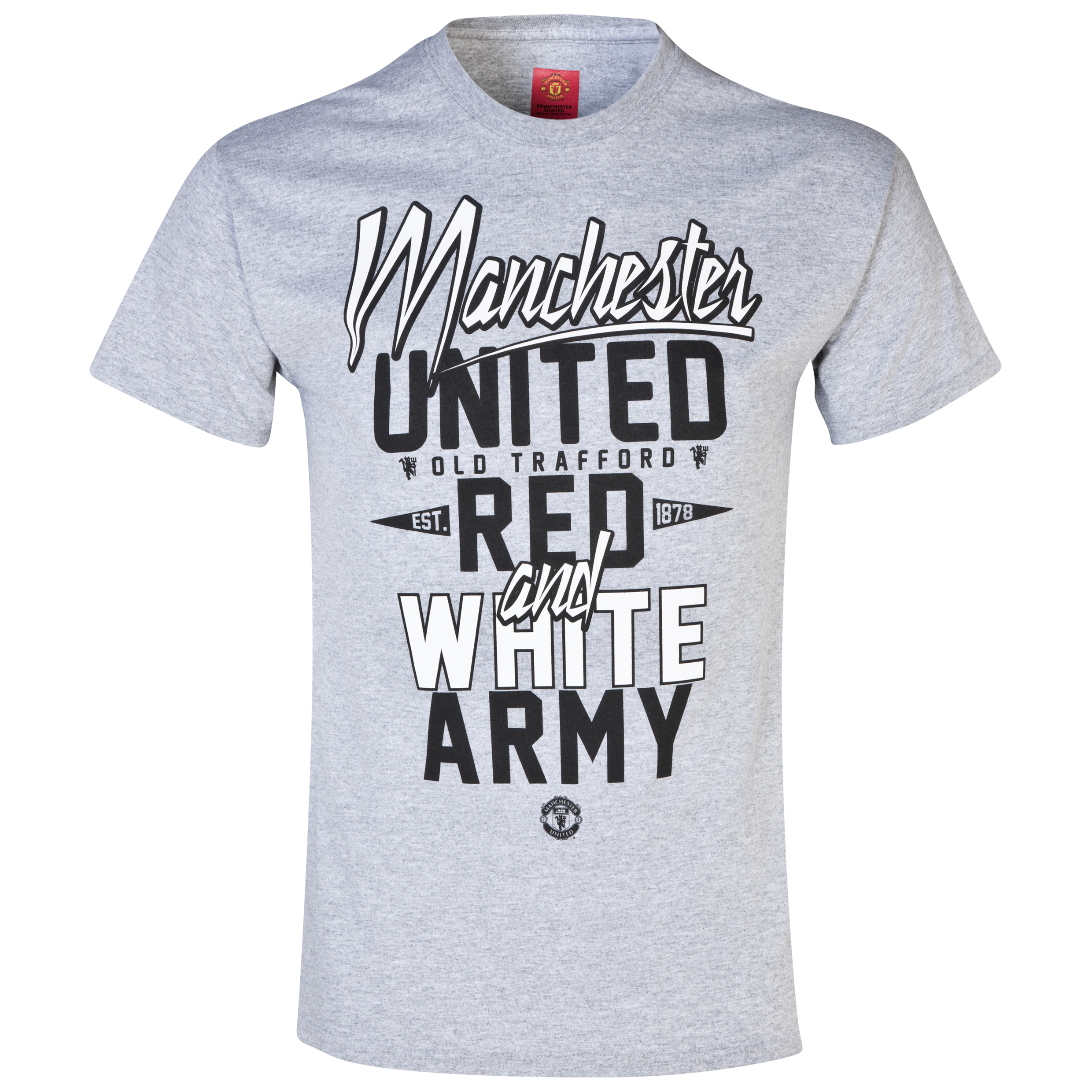 Manchester United Red and White Army T-Shirt -  Mens Grey