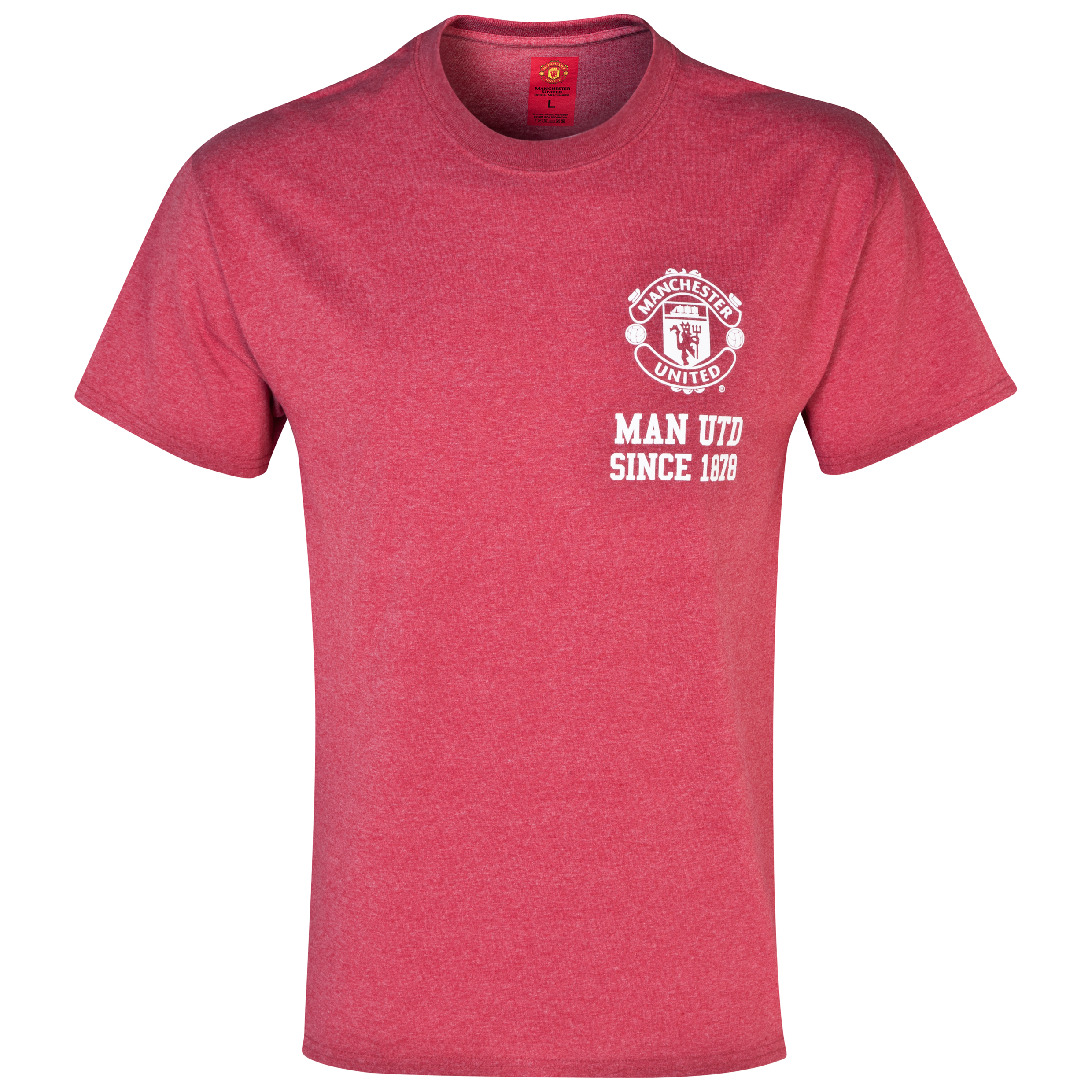 Manchester United Crest T-Shirt -  Mens Red