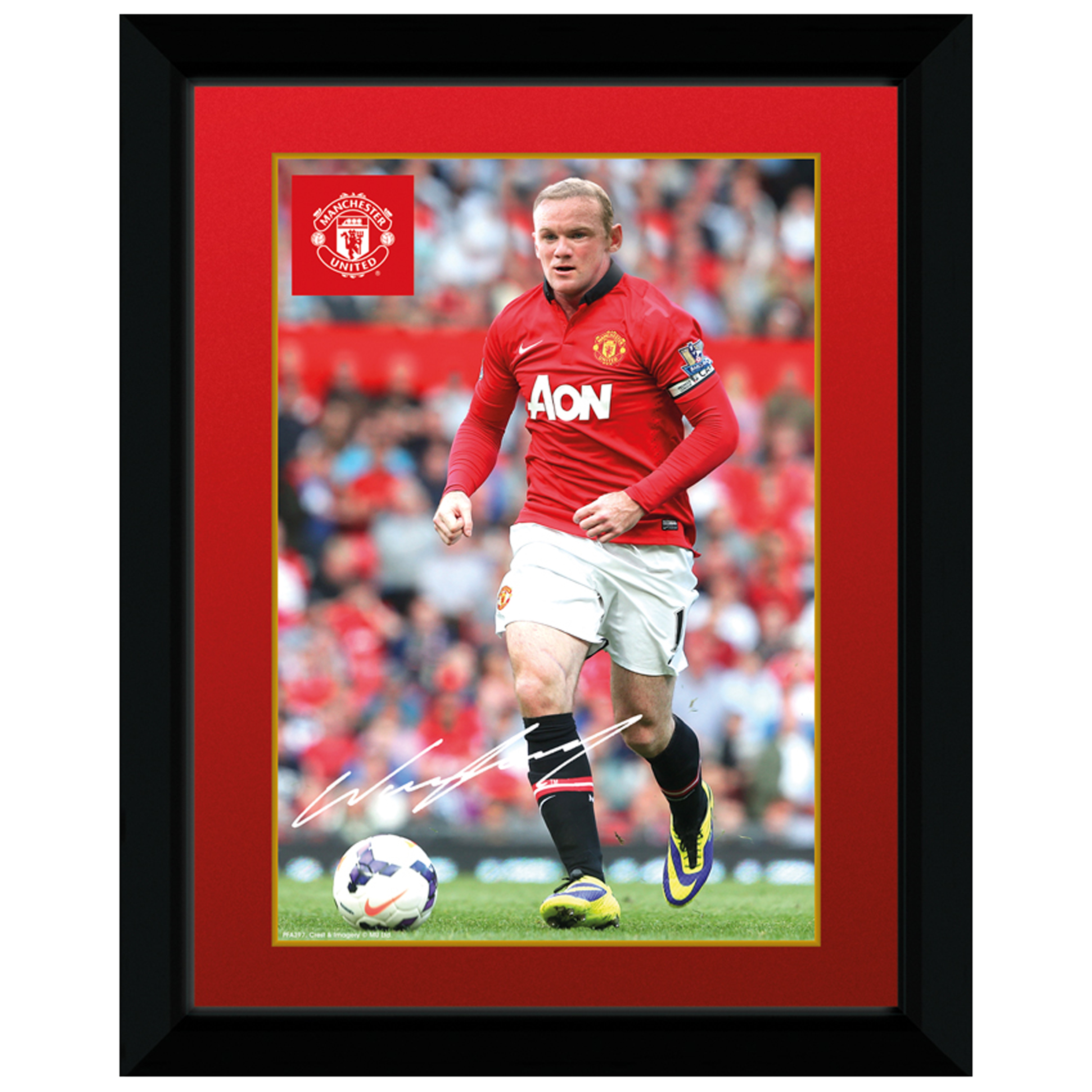 Manchester United 2013/14 Rooney Framed Print - 8 x 6 Inch
