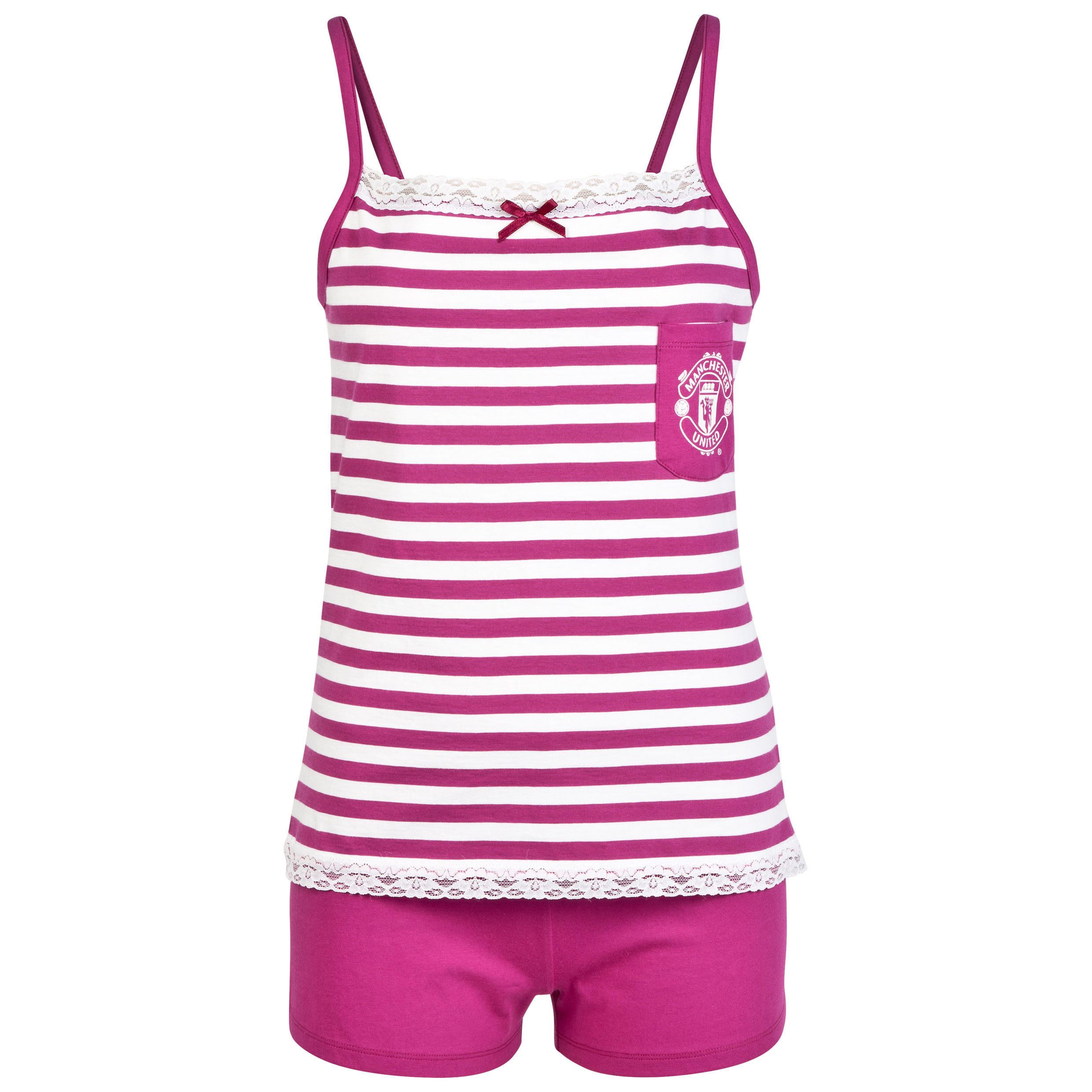 Manchester United Striped Shortie Pyjamas - Womens