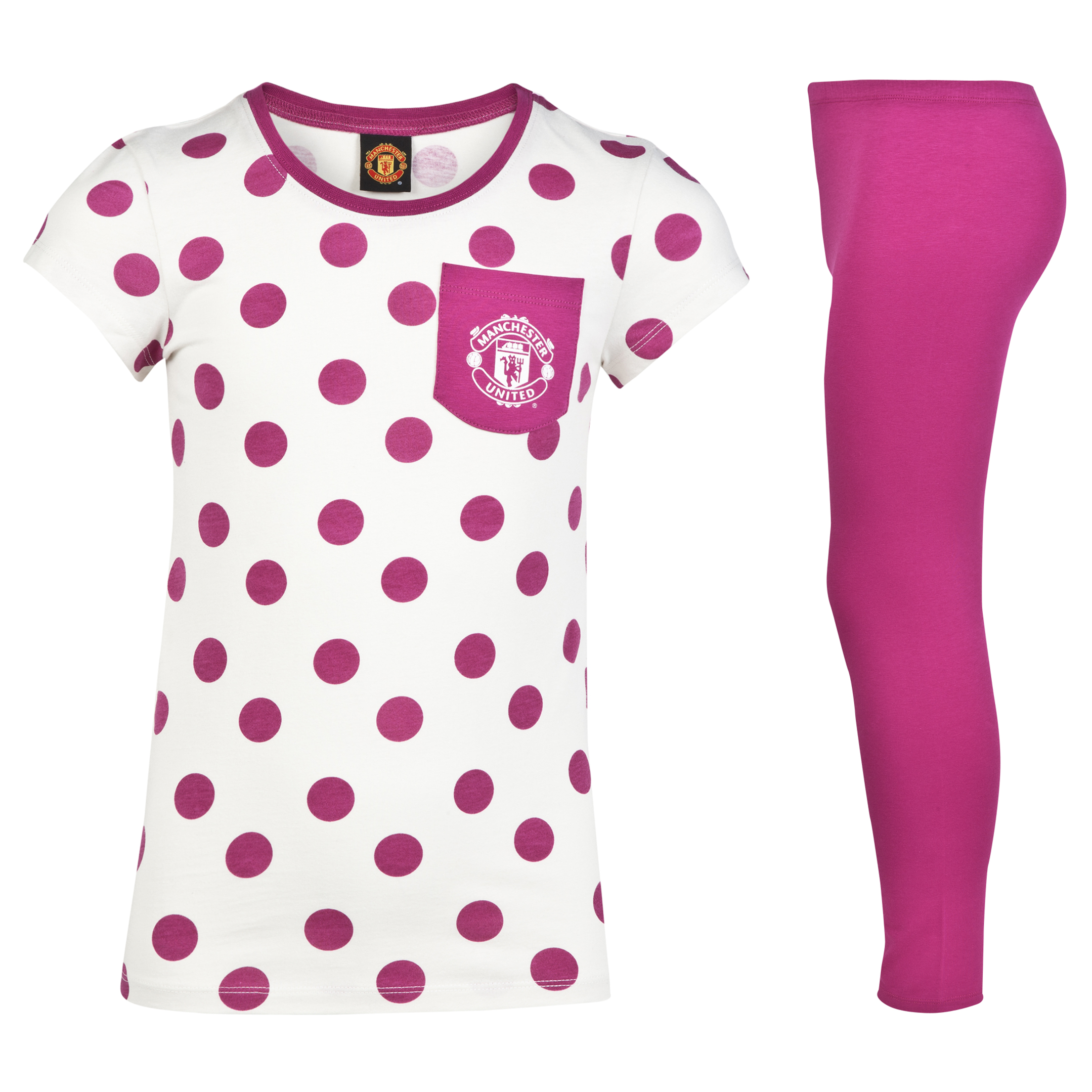 Manchester United Spotty Pyjamas - Older Girls Cream