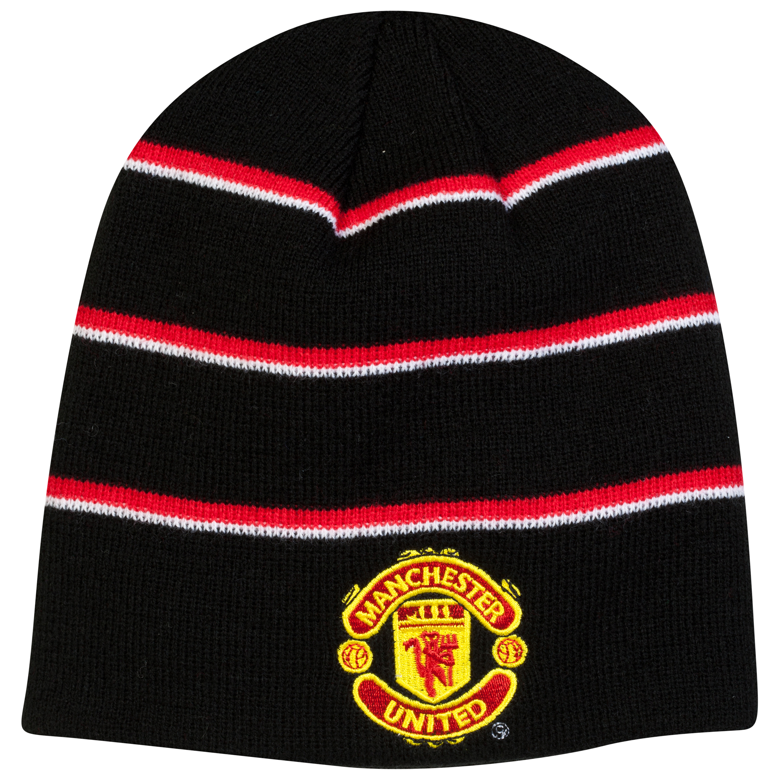 Manchester United Striped Crest Beanie Hat - Adult Black