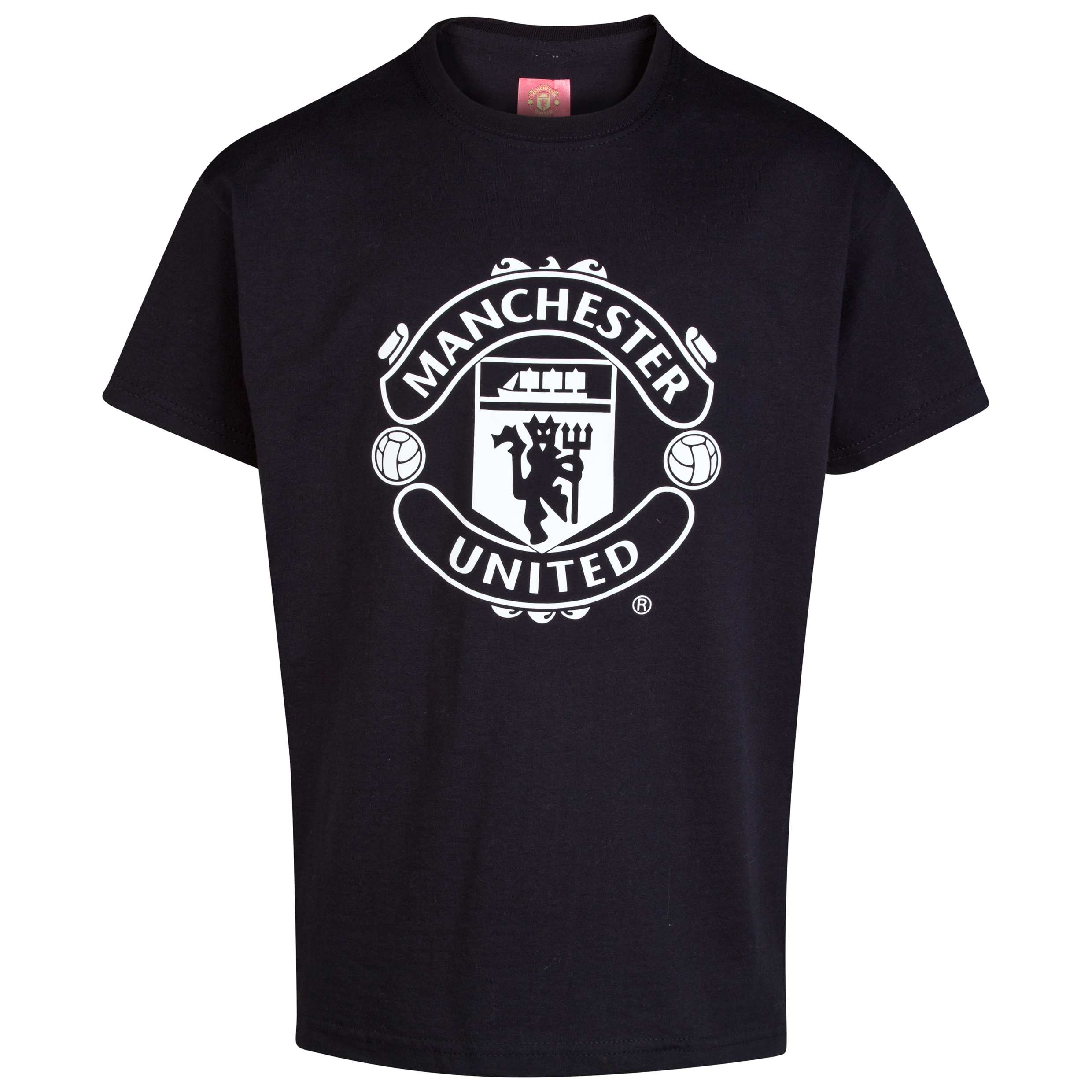 Manchester United Glow In The Dark Crest T-Shirt - Older Boys Black