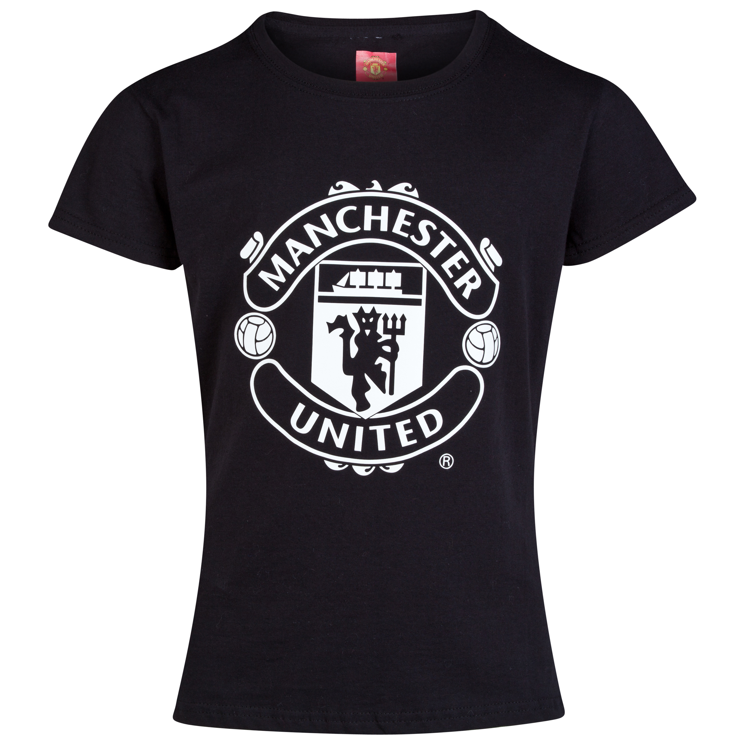 Manchester United Glow In The Dark Crest T-Shirt - Older Girls Black