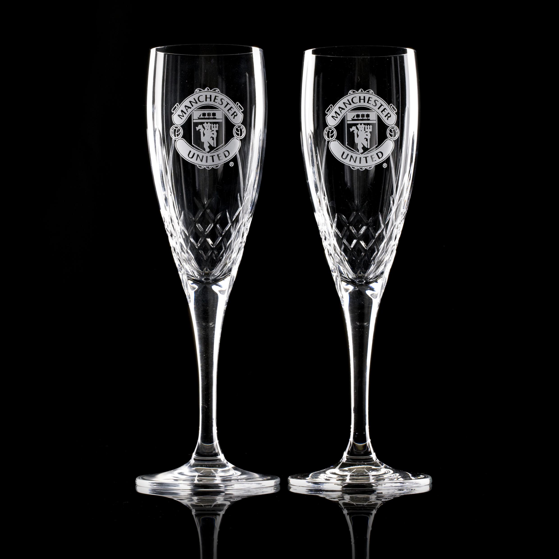 Manchester United Mayfair Crystallite Champagne Flute - Pair