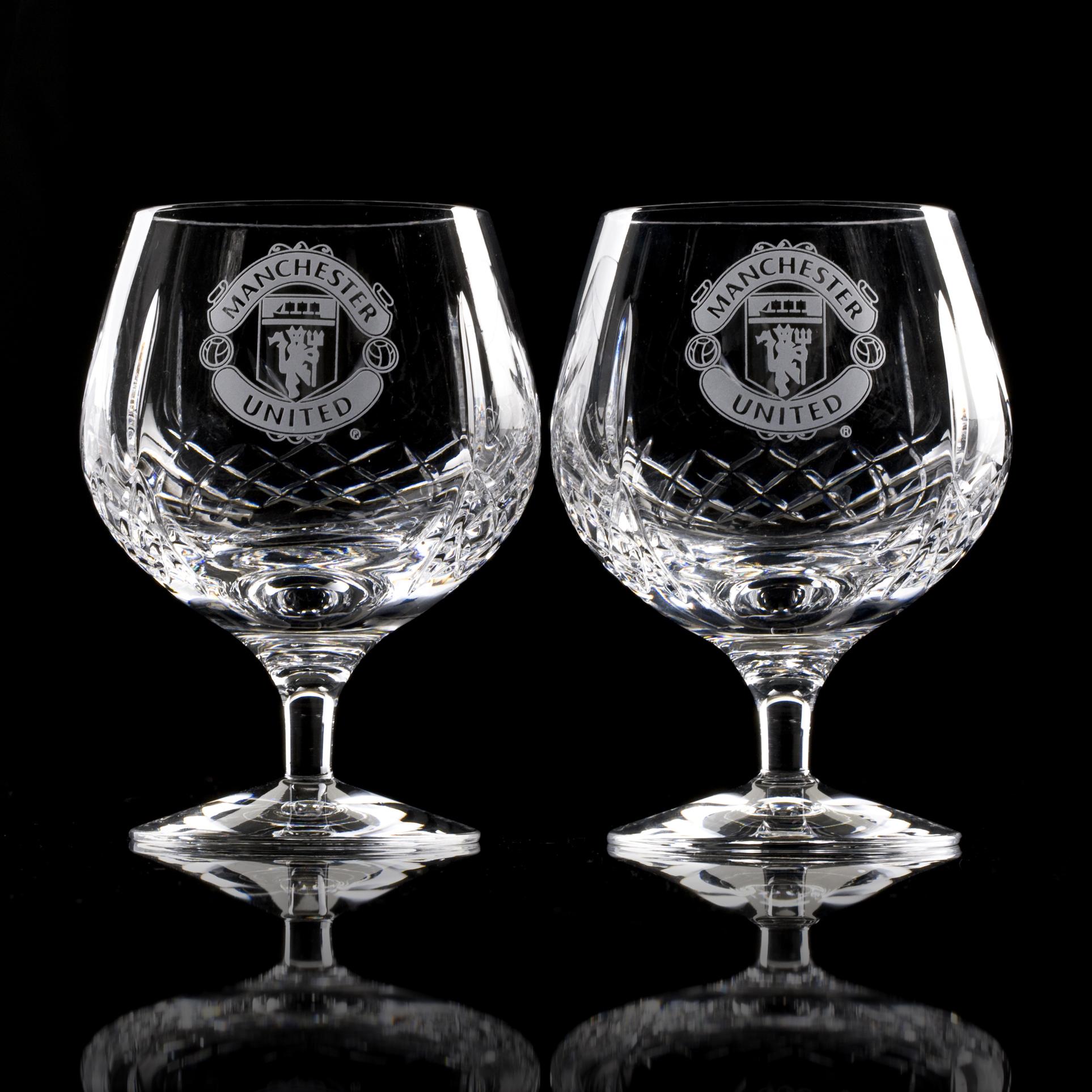 Manchester United Mayfair Crystallite Brandy Glass - Pair