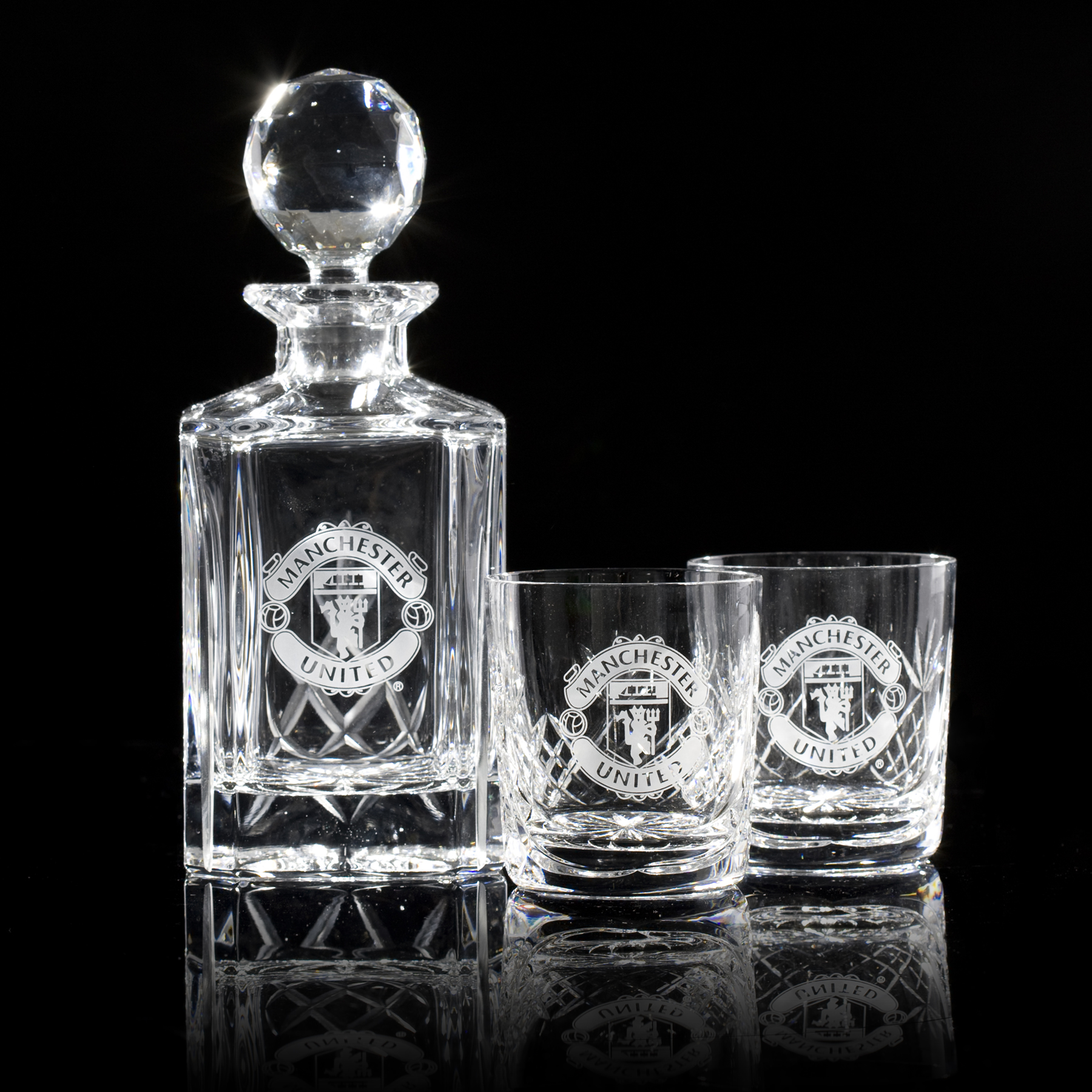 Manchester United Crystallite 3 Piece Panel Whisky Set