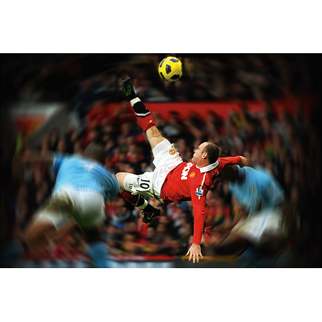 Manchester United Rooney Bicycle Kick Real Big Mural Wall Sticker - 72inch x 48inch