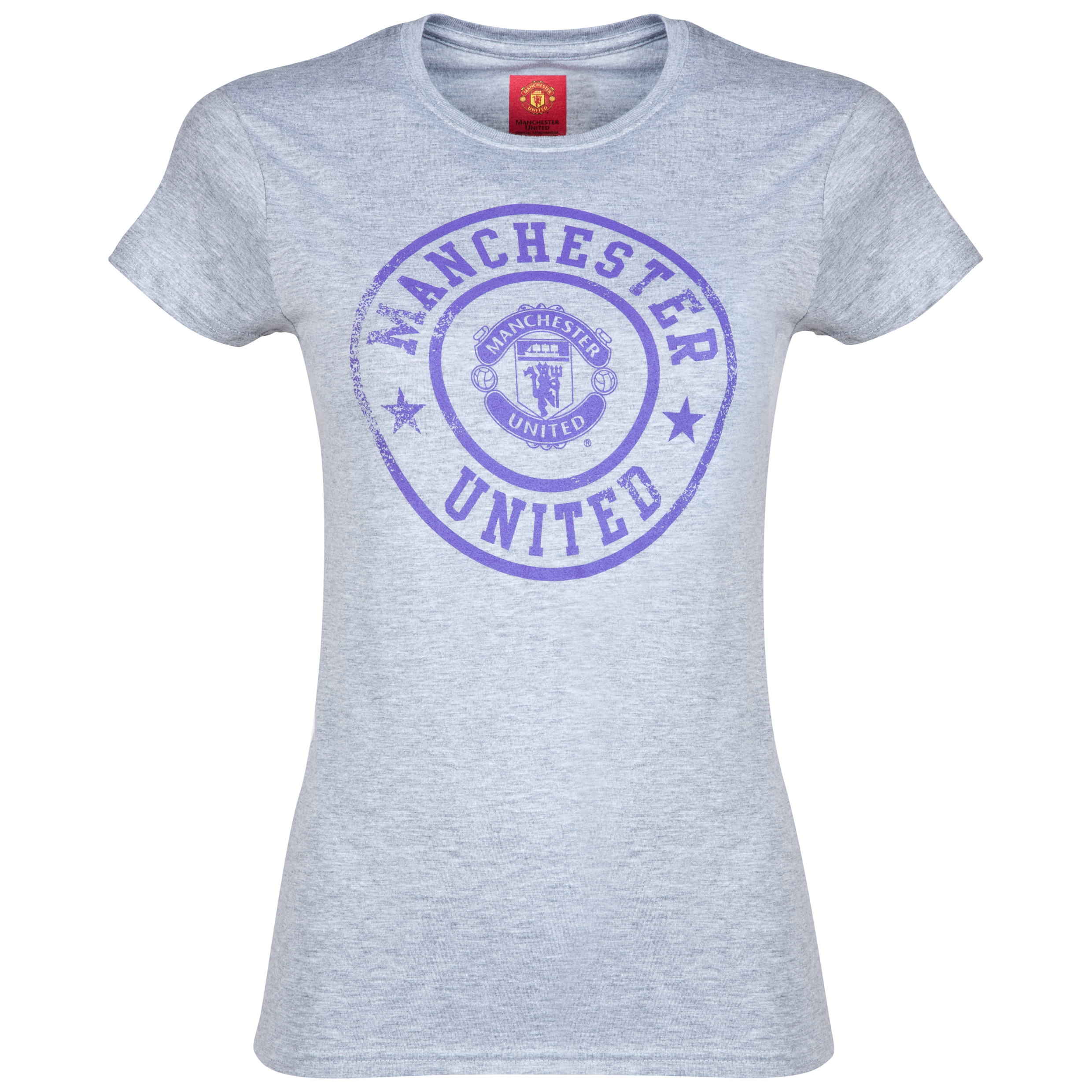 Manchester United Distressed Stamp T-Shirt - Womens Grey