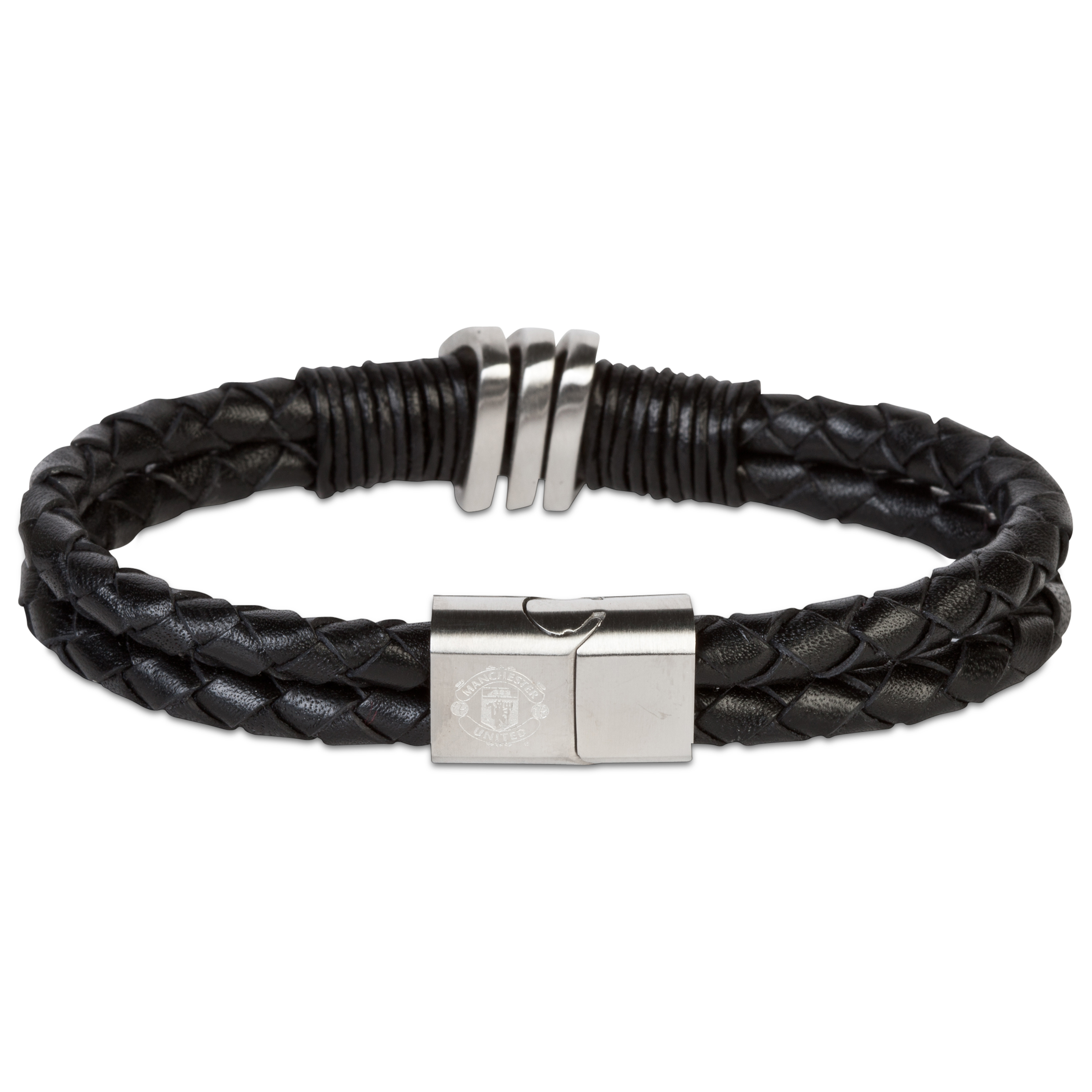 Manchester United Black Leather Bracelet - Stainless Steel