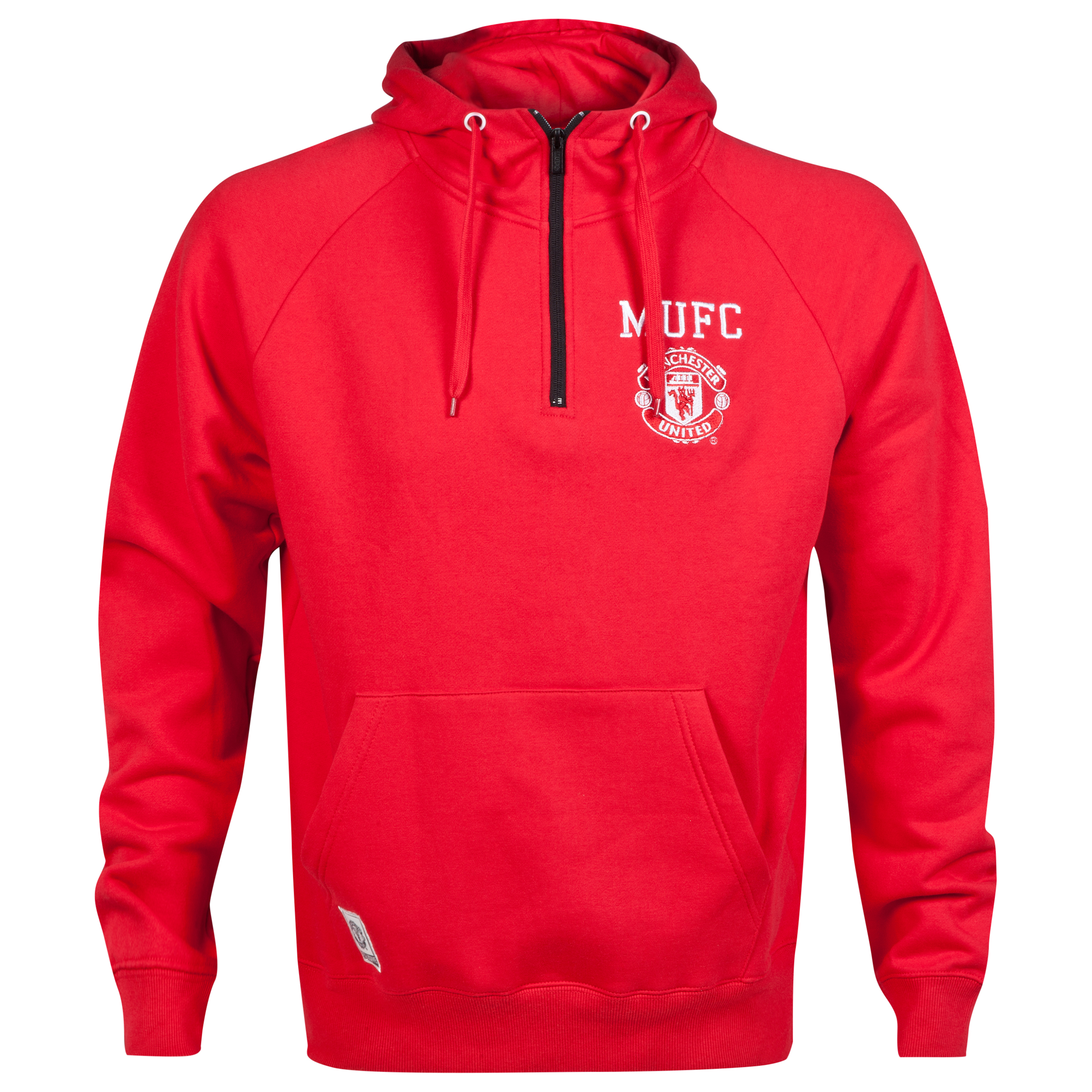 Manchester United Classic Half Zip Hoodie - Red - Mens
