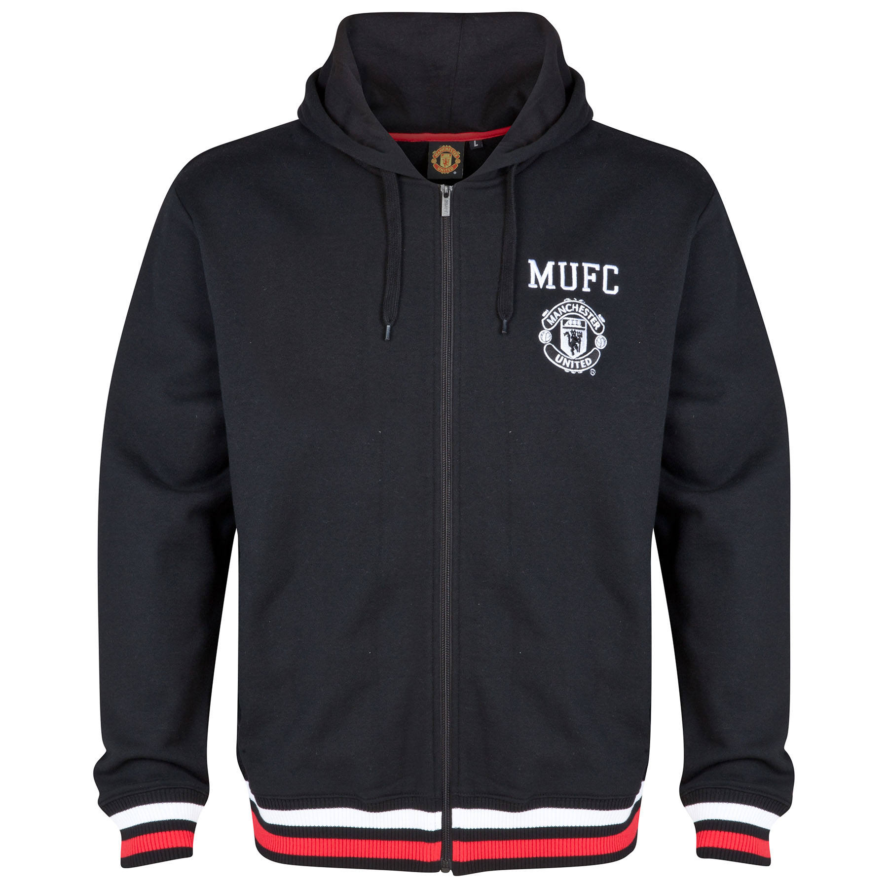 Manchester United Classic Full Zip Hoodie - Black - Mens