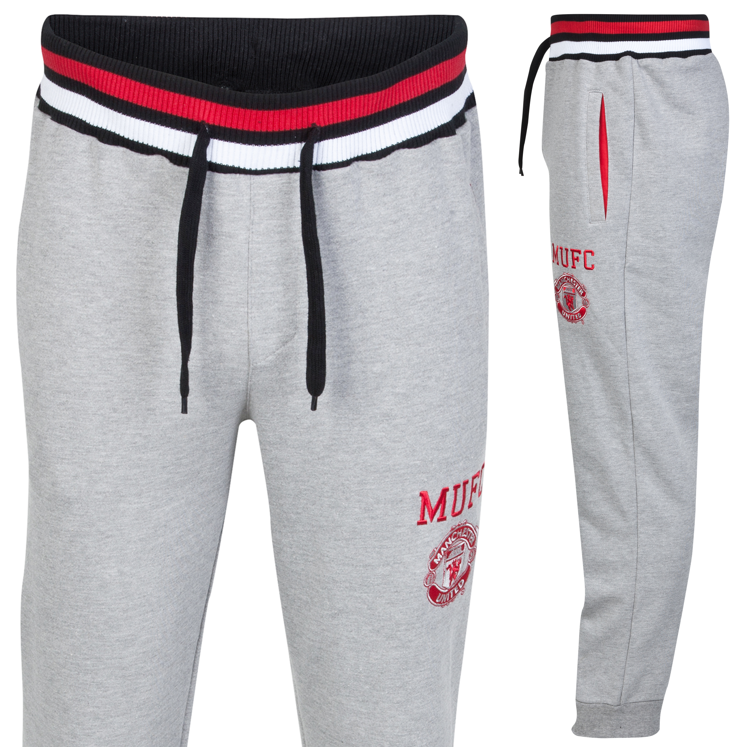 Manchester United Classic Fleece Jogger - Grey Marl - Mens