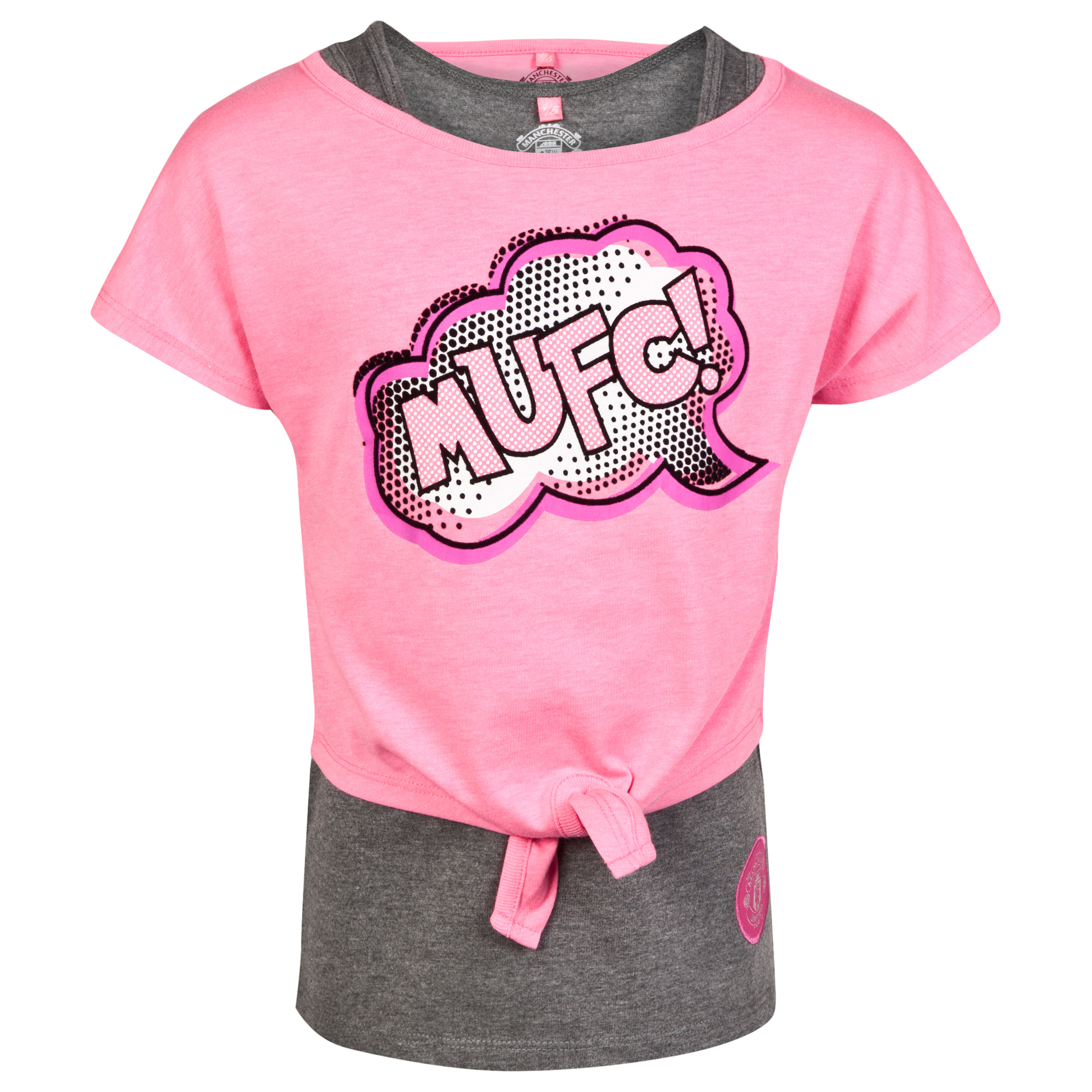 Manchester United Double Layer Tie T-Shirt - Wow Pink - Girls