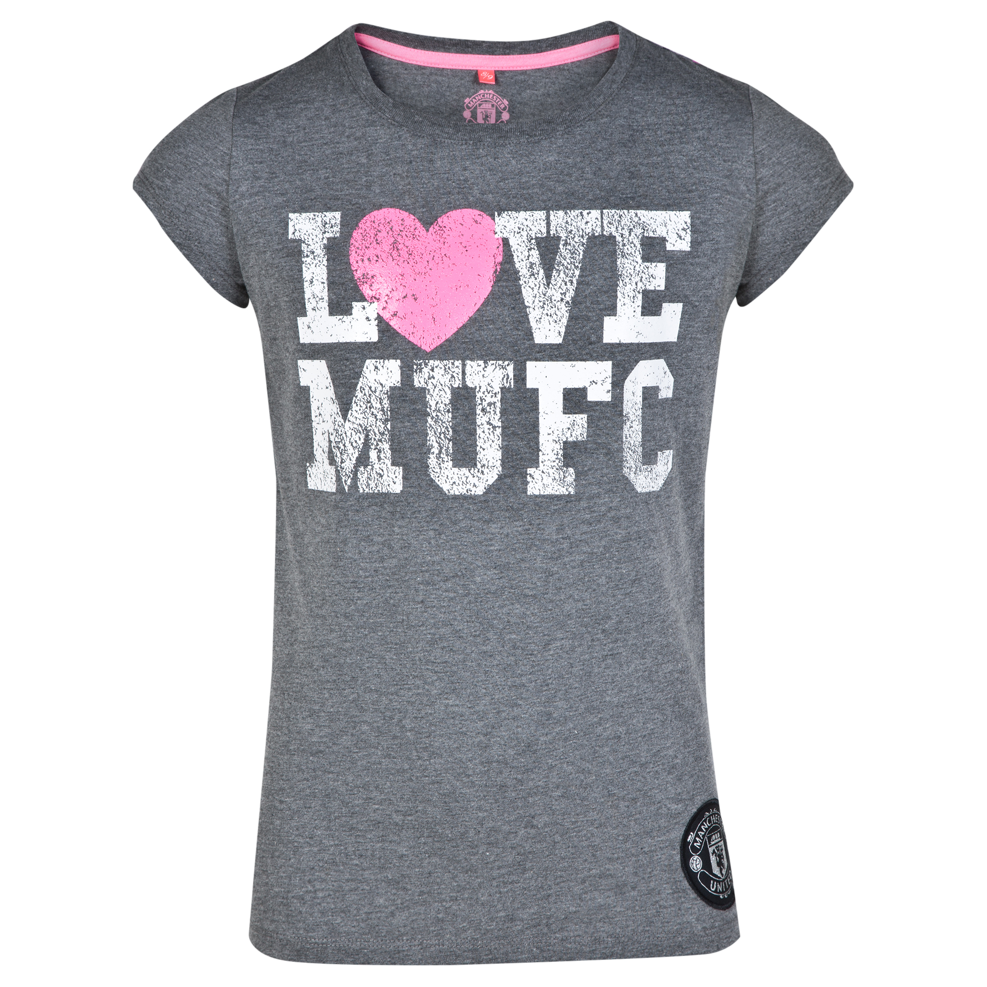 Manchester United Star Print Graphic T-Shirt - Vintage Marl - Girls