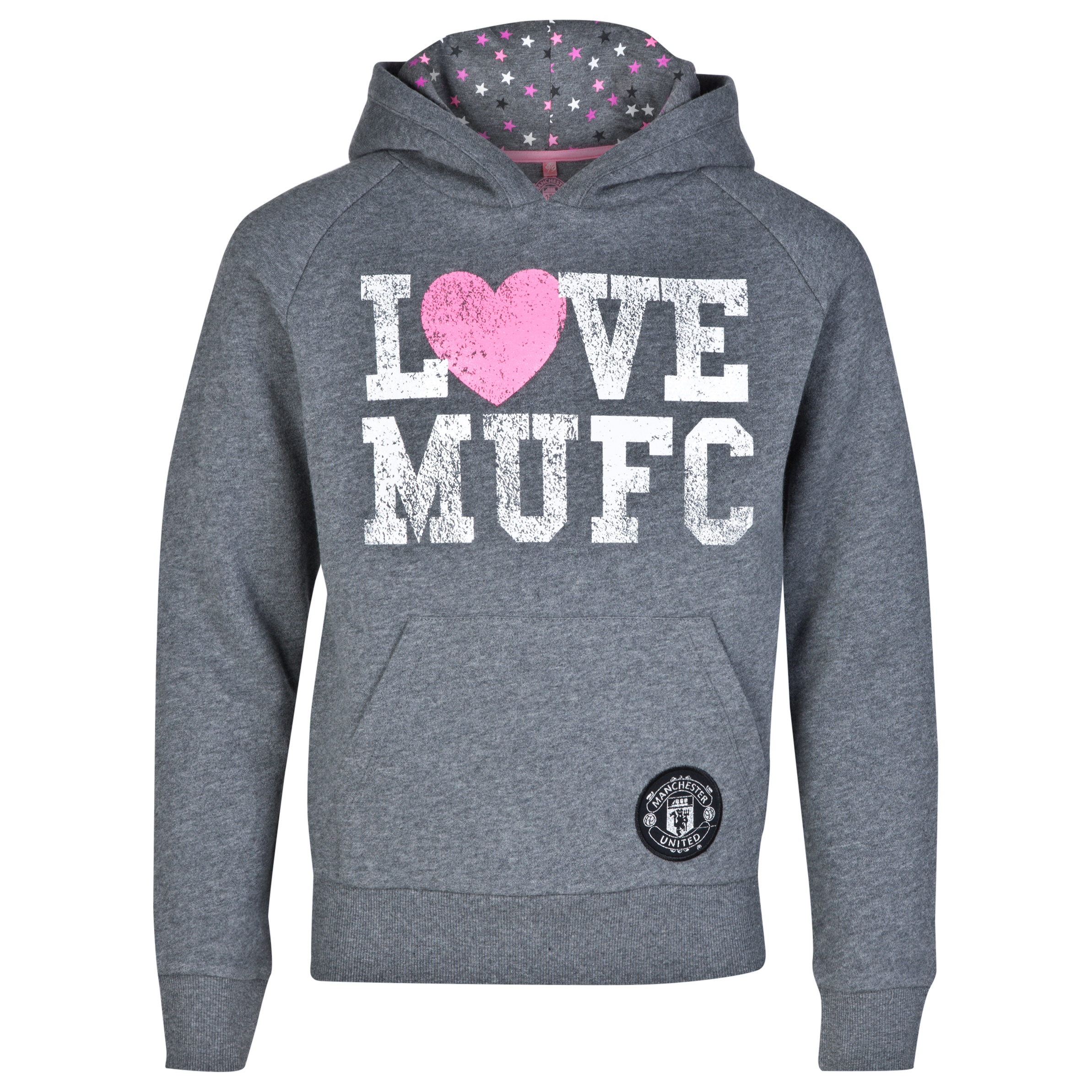 Manchester United Star Print Fleece Hoodie - Vintage Marl - Girls