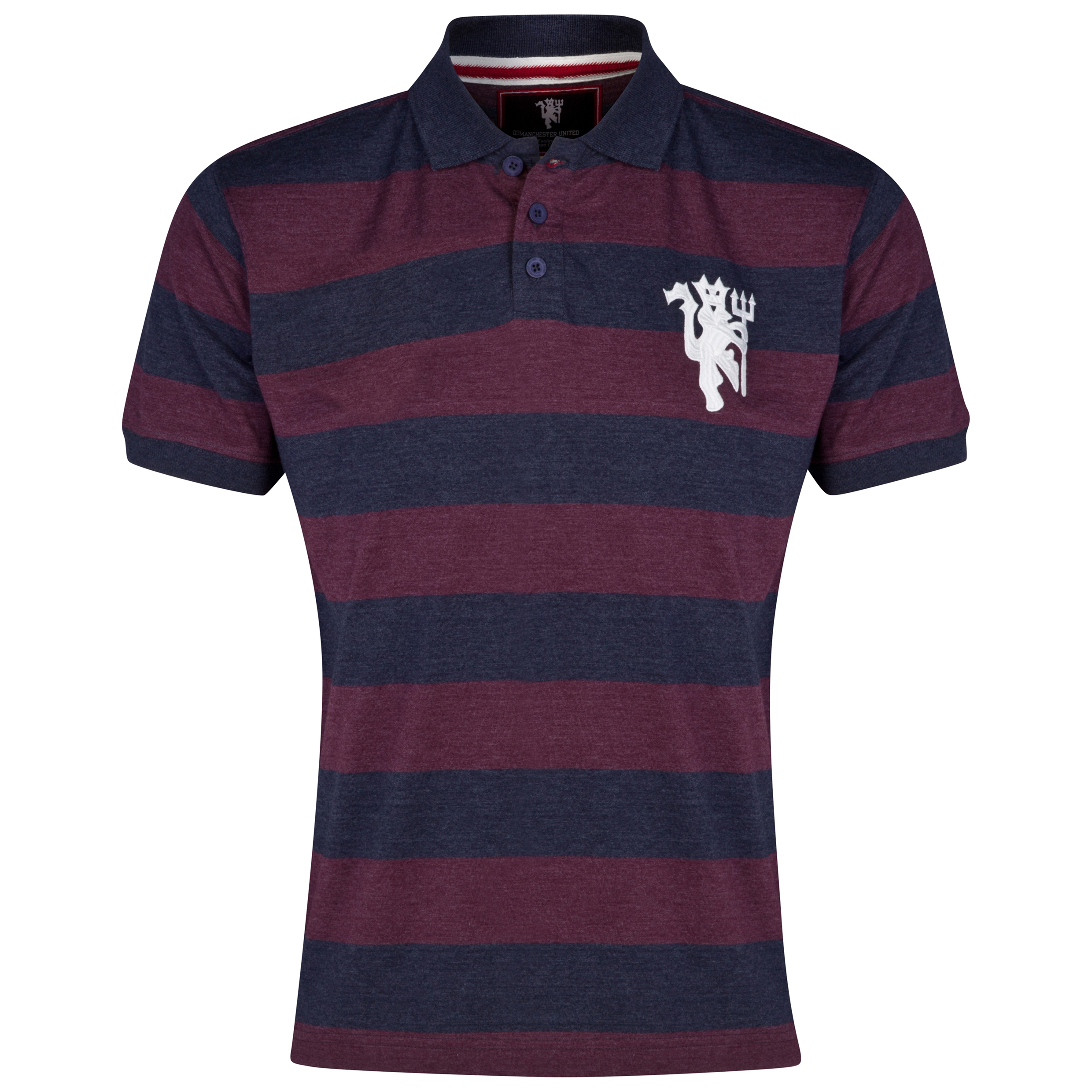 Manchester United Heritage Striped Polo Shirt - Heather Navy - Mens