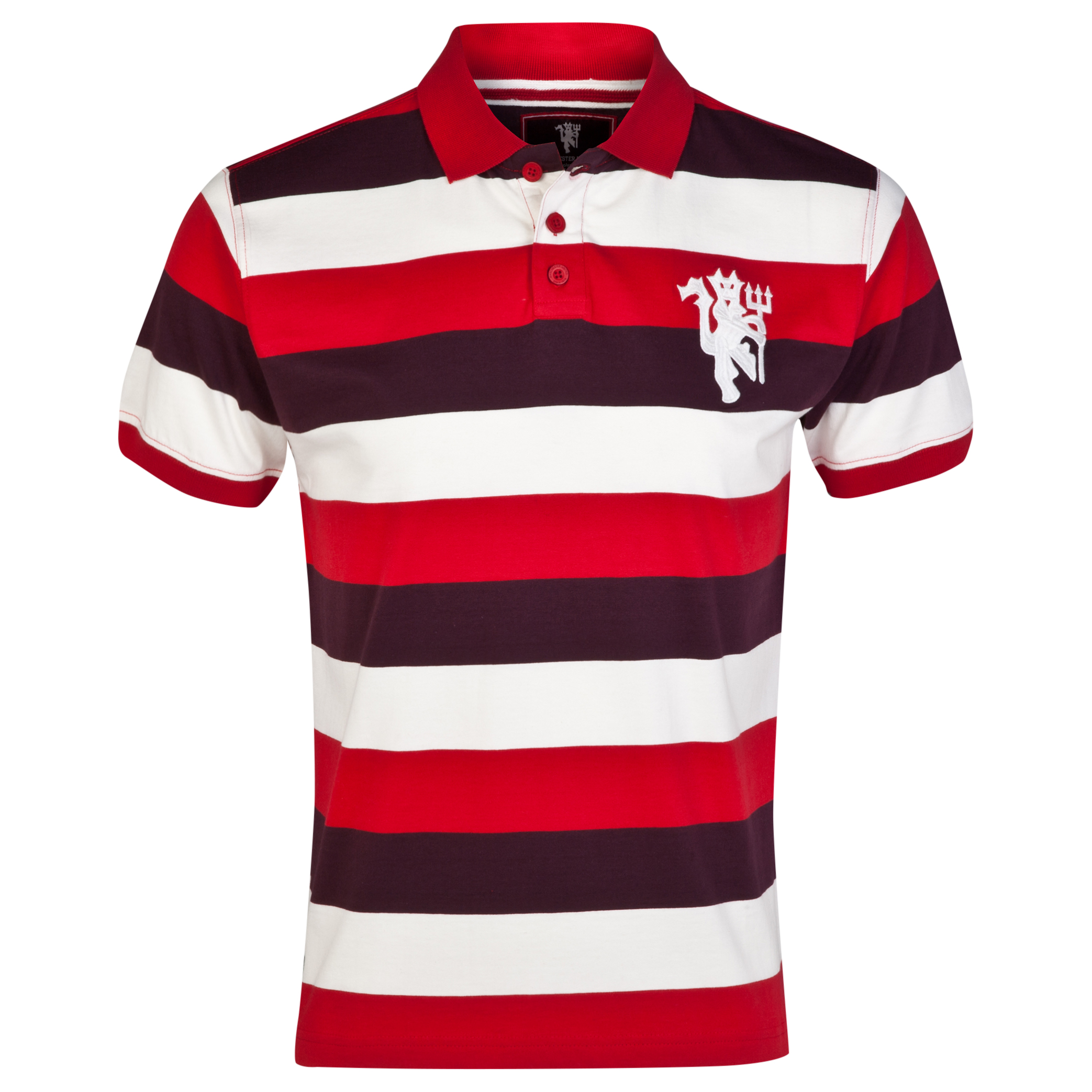 Manchester United Heritage Striped Polo Shirt - Vintage Claret - Mens