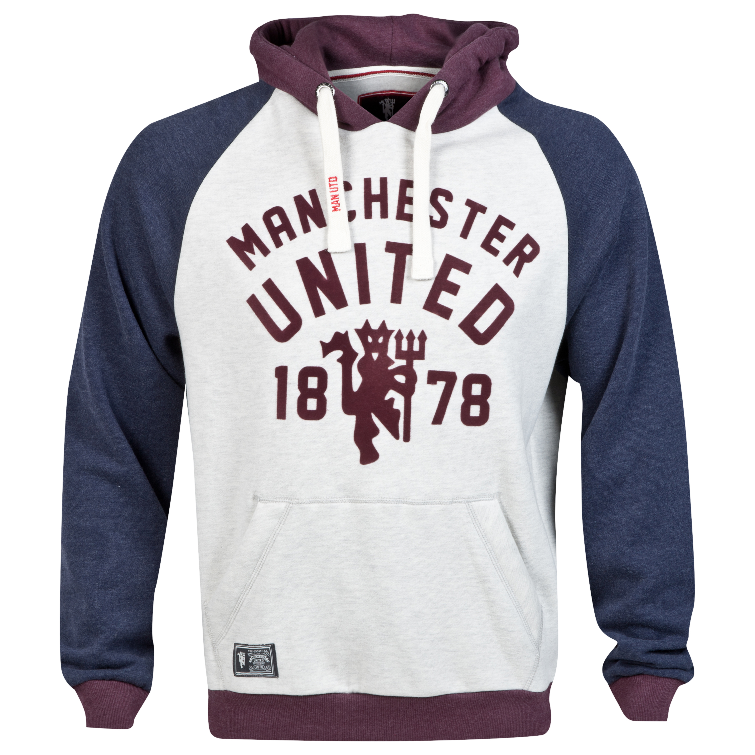 Manchester United Heritage Contrast Hoodie - Light Grey Marl - Mens