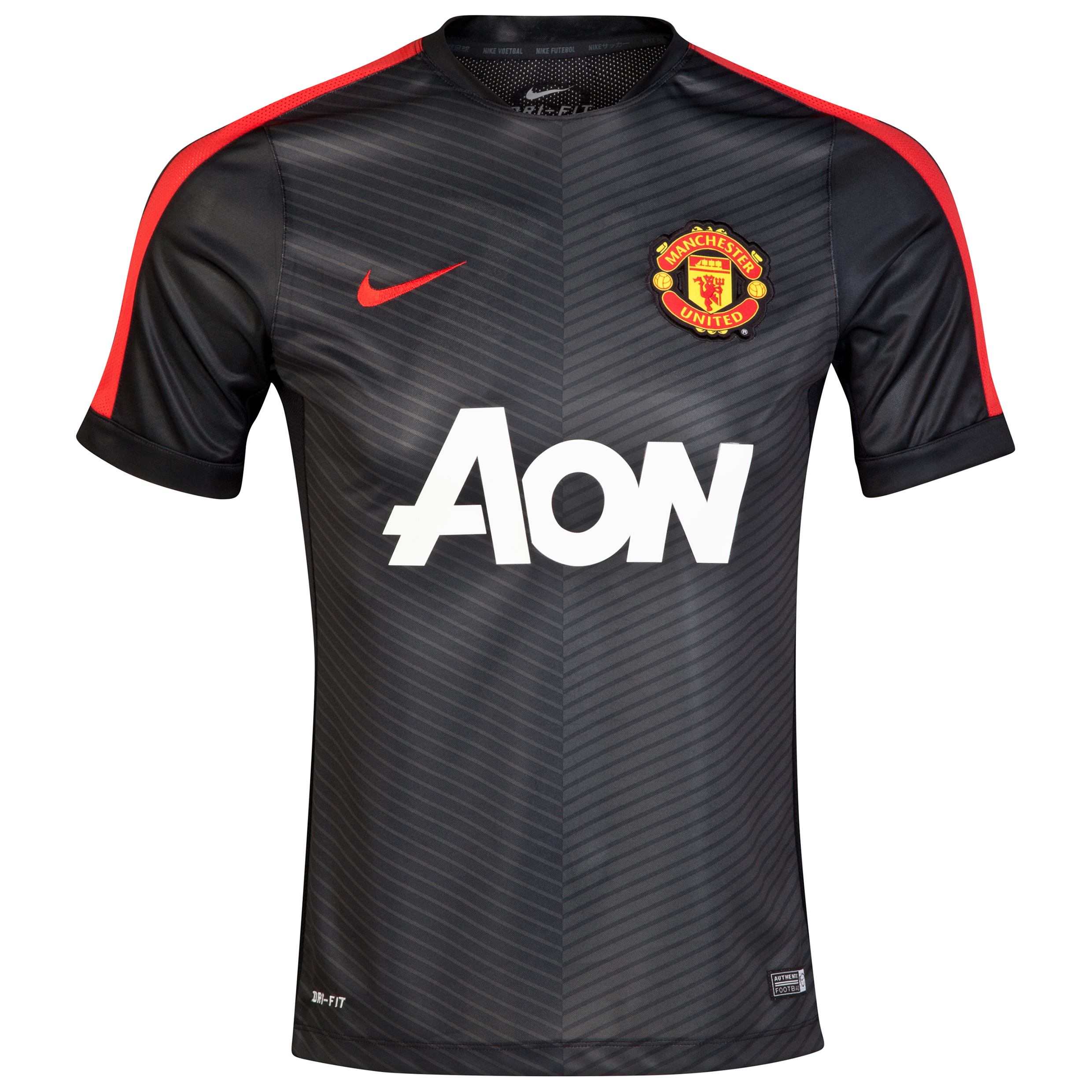 Manchester United Squad Short Sleeve Pre Match Top-Black