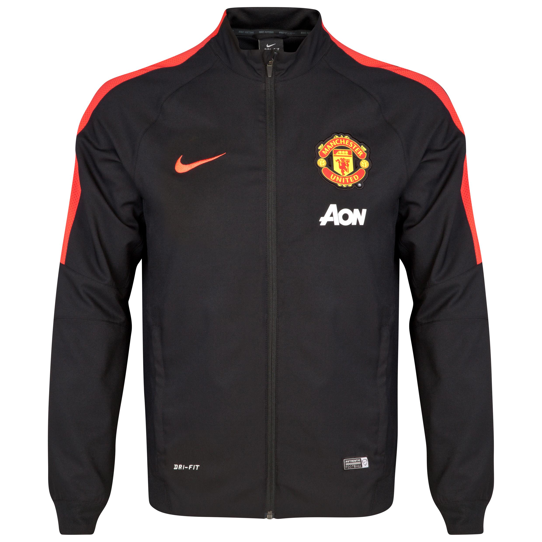 Manchester United Squad Sideline Woven Jacket-Black