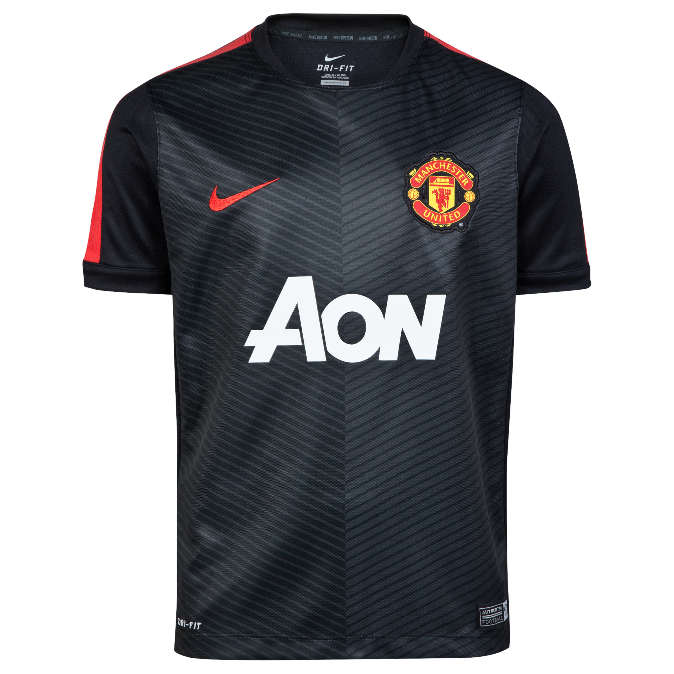 Manchester United Squad Short Sleeve Pre Match Top - Kids-Blk