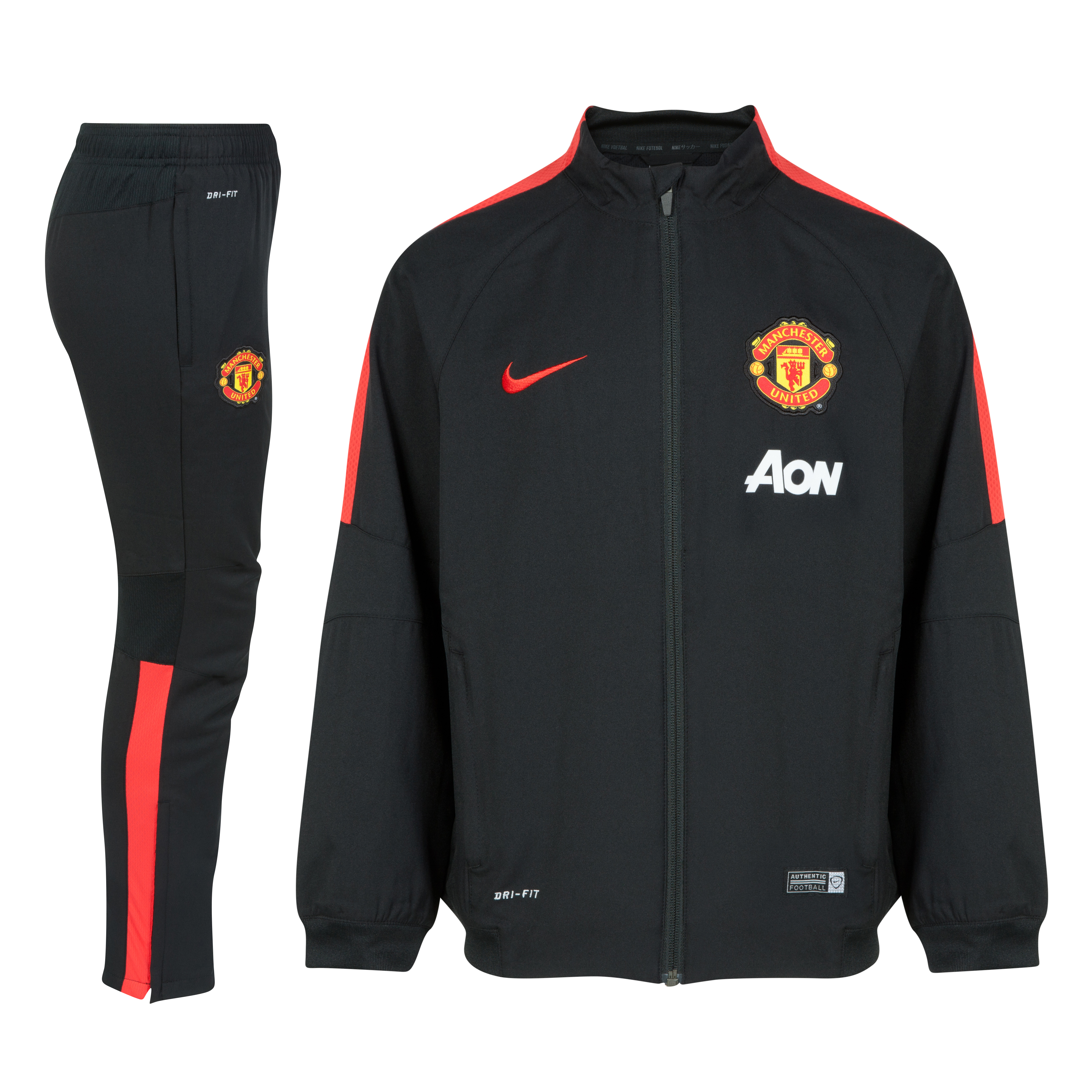 Manchester United Squad Sideline Woven Warm Up Tracksuit - Kids-Black