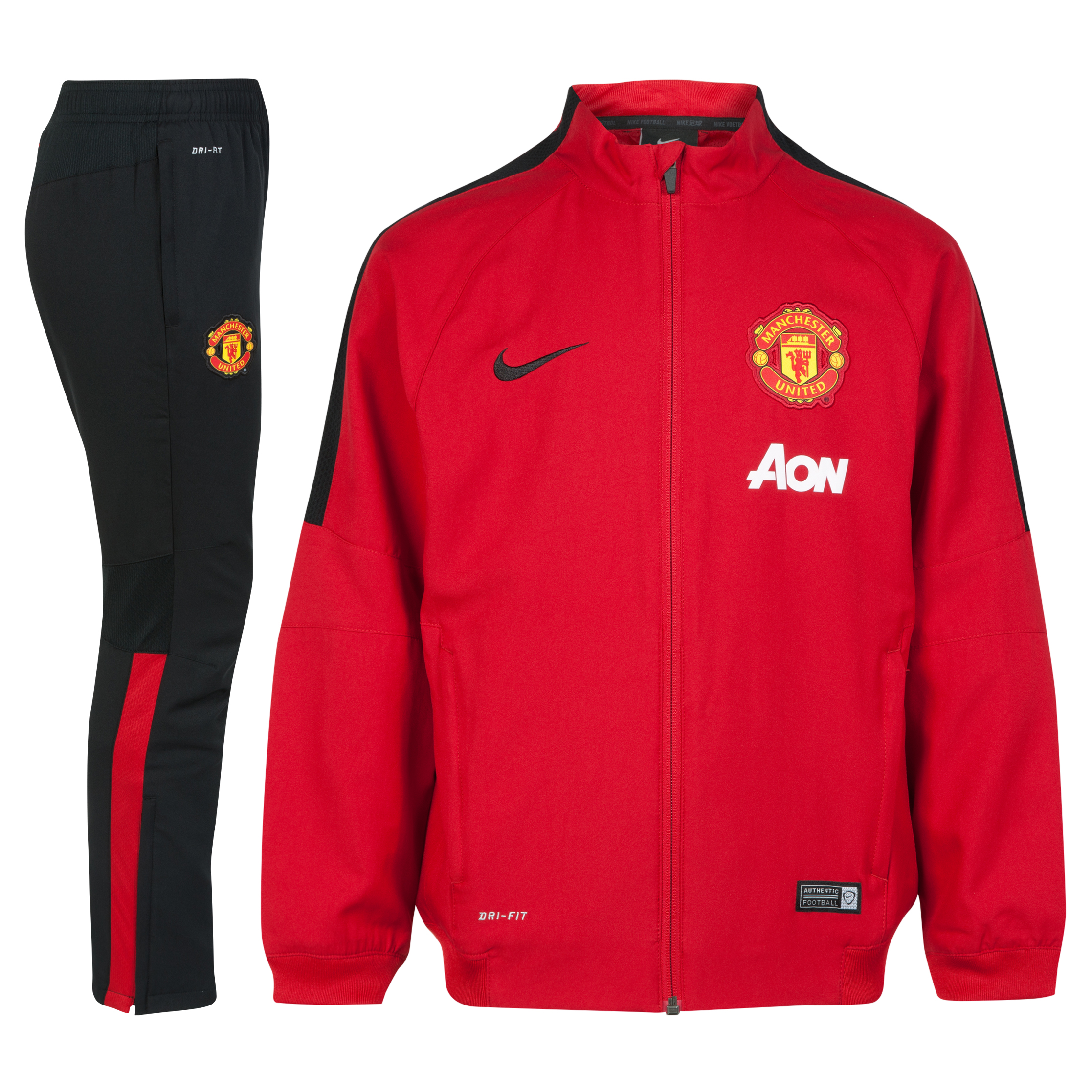 Manchester United Squad Sideline Woven Warm Up Tracksuit - Kids-Red