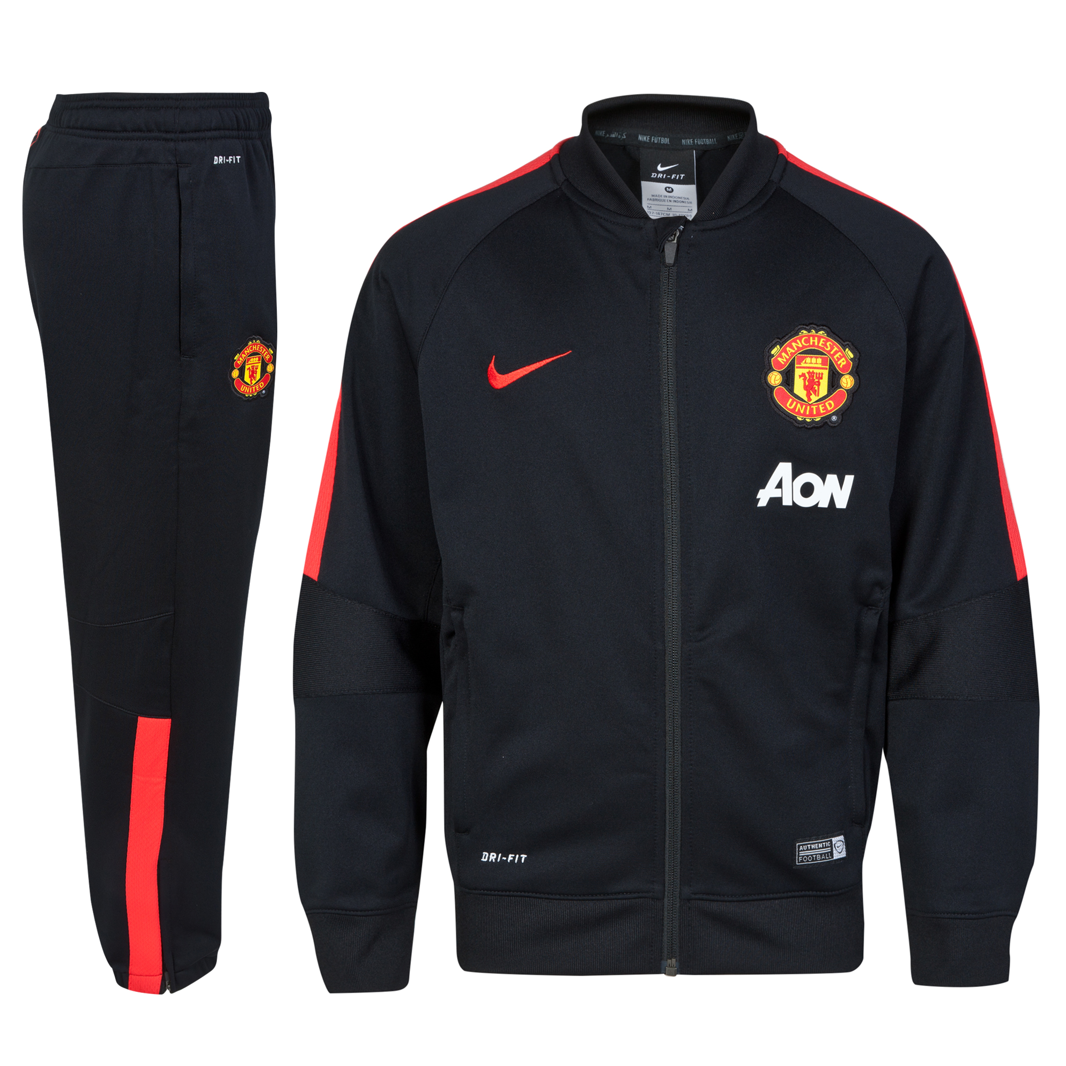 Manchester United Squad Sideline Knit Warm Up Tracksuit - Kids-Black