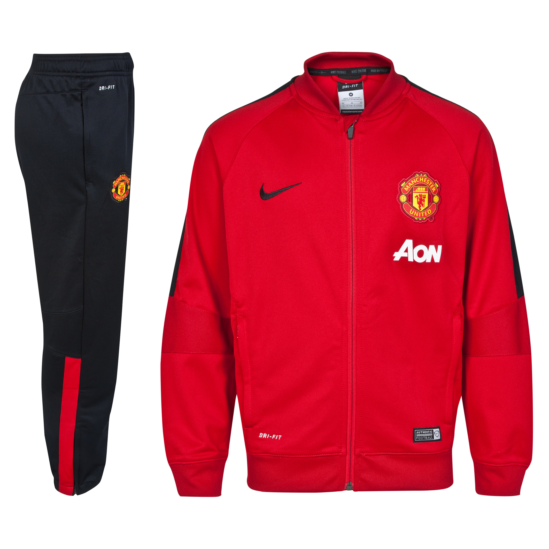 Manchester United Squad Sideline Knit Warm Up Tracksuit - Kids-Red