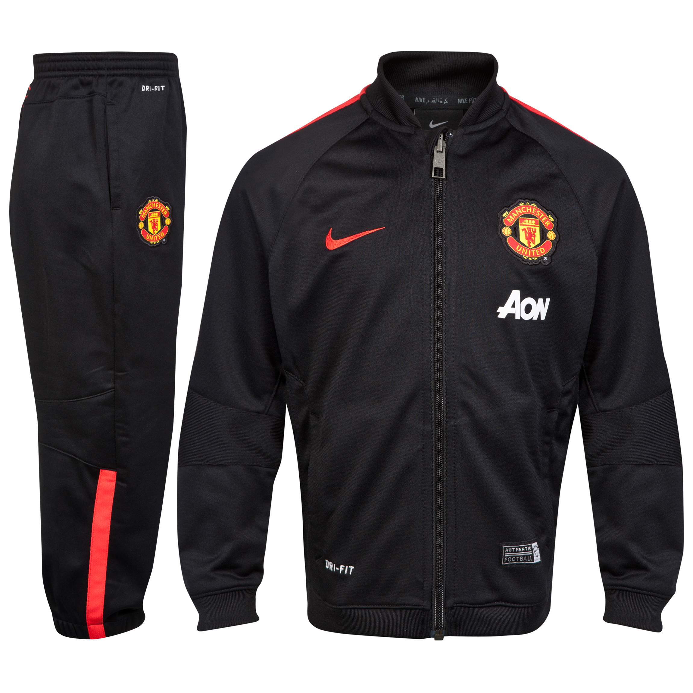 Manchester United Squad Sideline Knit Warm Up Tracksuit - Little Boys-Black
